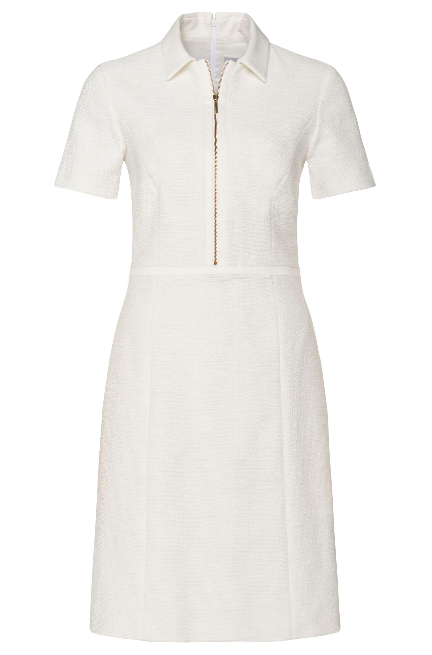 'Harjane' | Stretch Cotton Linen Blend A-Line Shirt Dress