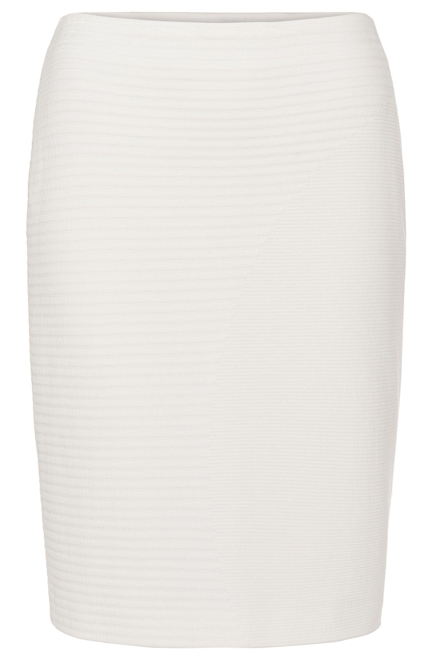 'Marleth' | Stretch Cotton Blend Ribbed Pencil Skirt