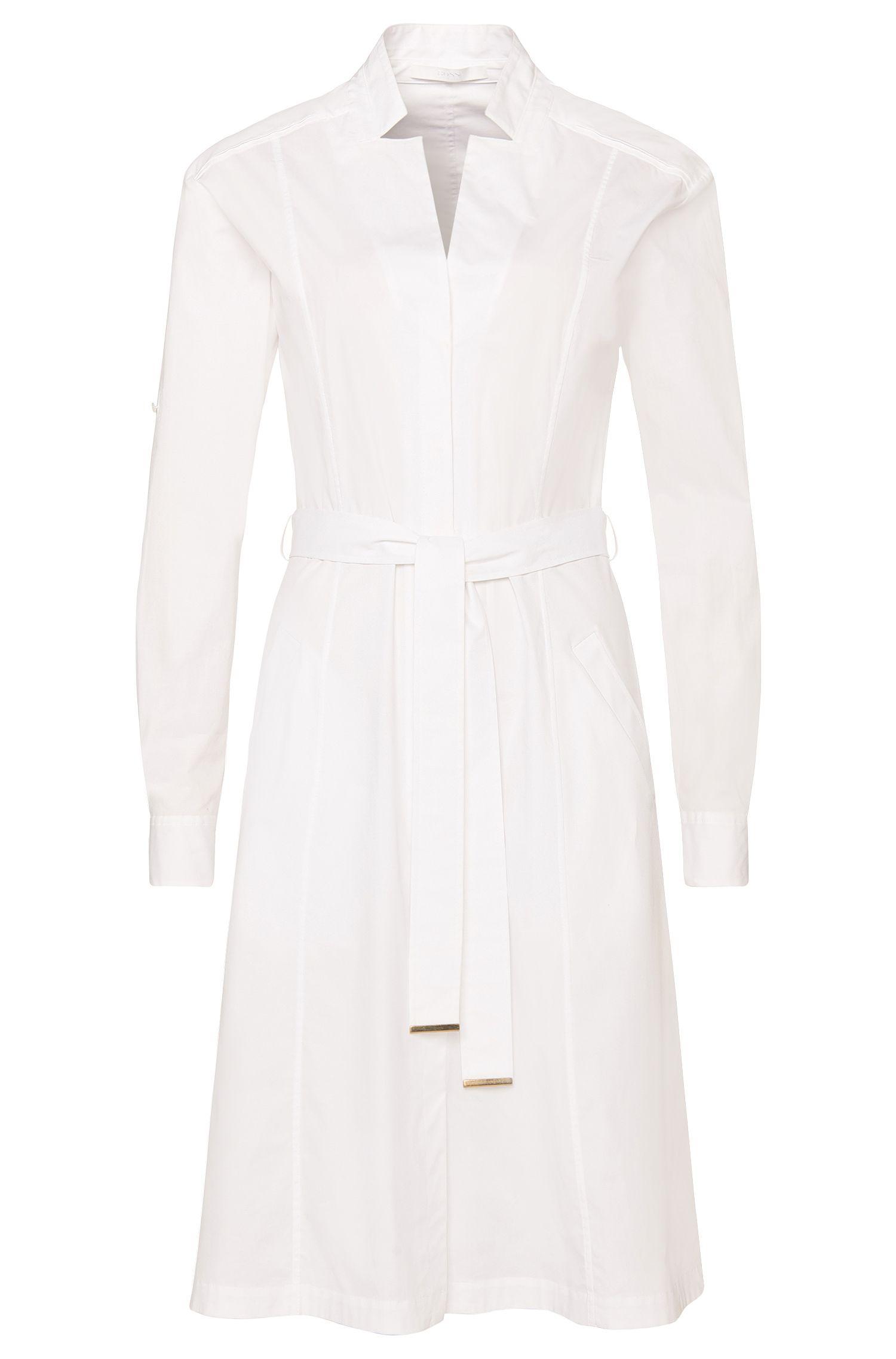 'Doctina' | Stretch Cotton Belted Shirt Dress