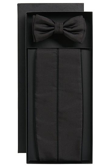 'Set Bow Tie Cumm' | Silk Bow Tie, Cummberbund Set , Black