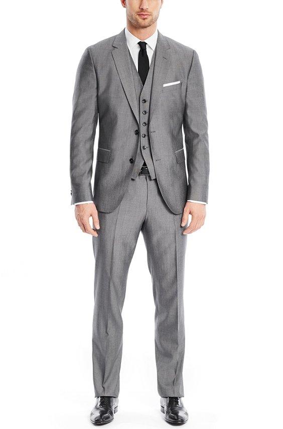 'Johnstons/Lenon WE' | Regular Fit, Virgin Wool Silk 3-Piece Suit, Dark Grey