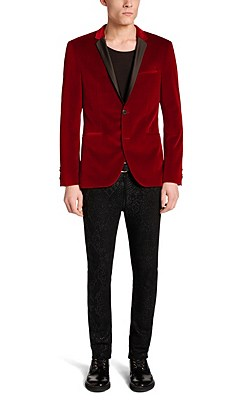 'Adrison' | Extra Slim Fit, Cotton Velvet Sport Jacket, Red