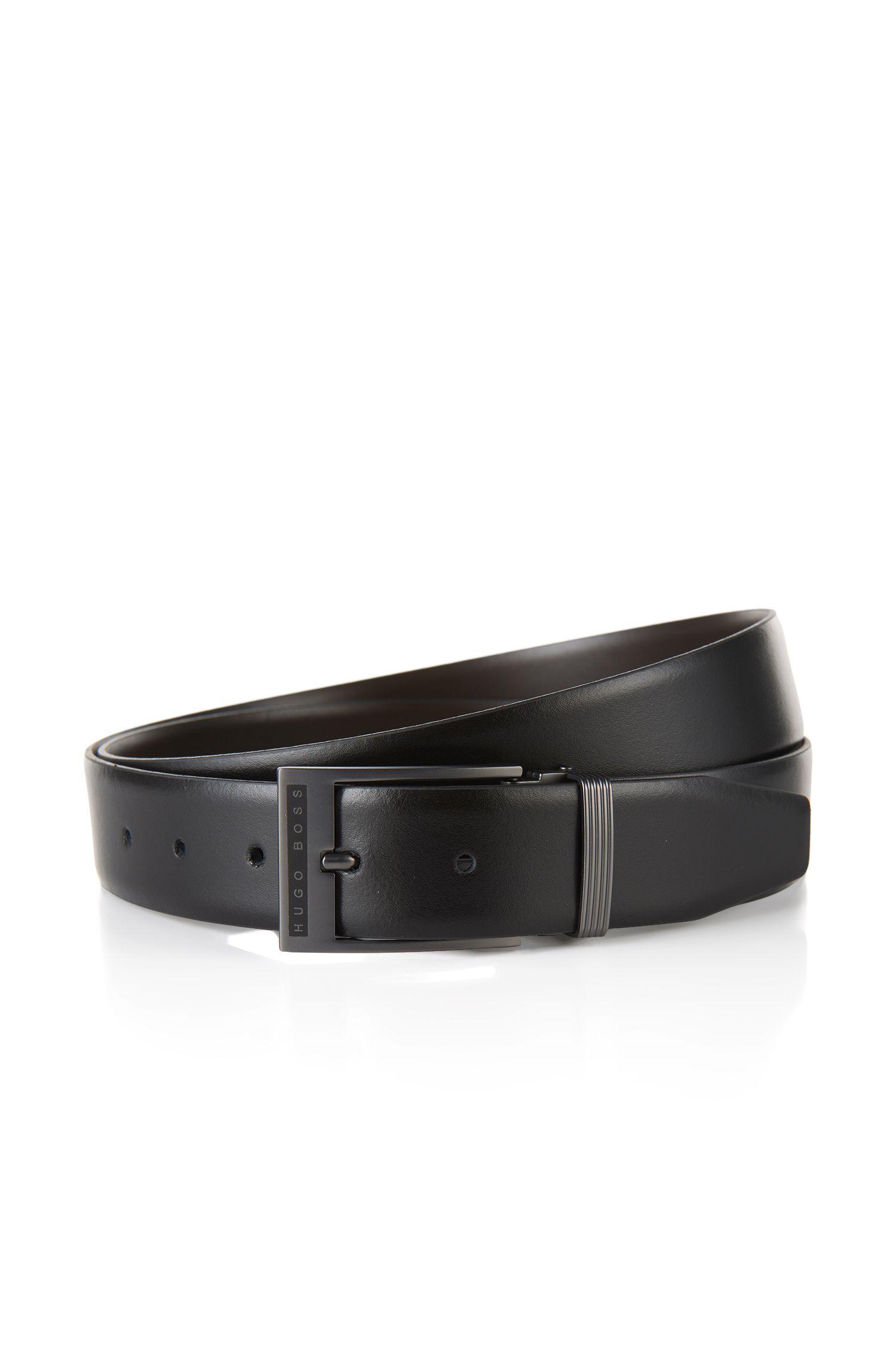 'Golias'   Leather Logo Buckle Belt