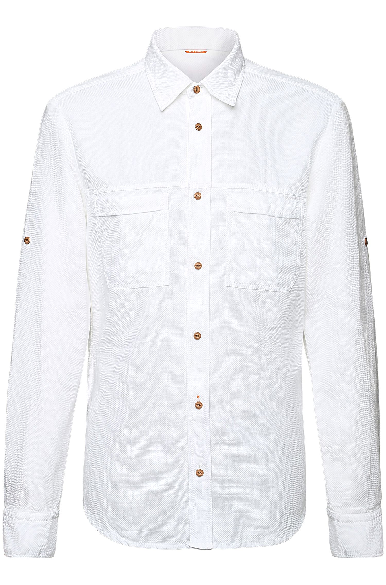 'ClasseE' | Regular Fit, Cotton Textured Button Down Shirt