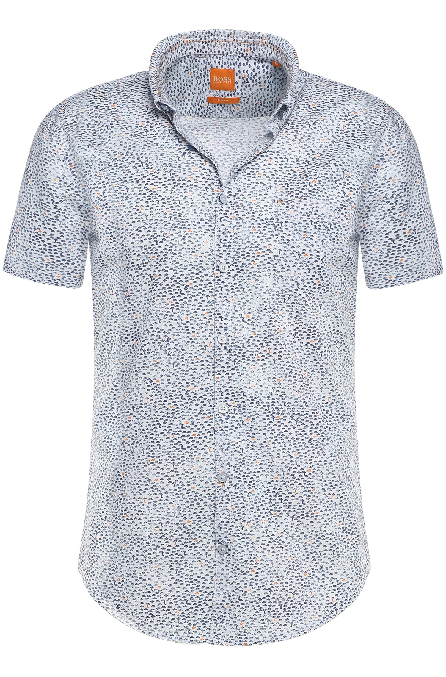 'ErollesE' | Slim Fit, Cotton Printed Button Down Shirt