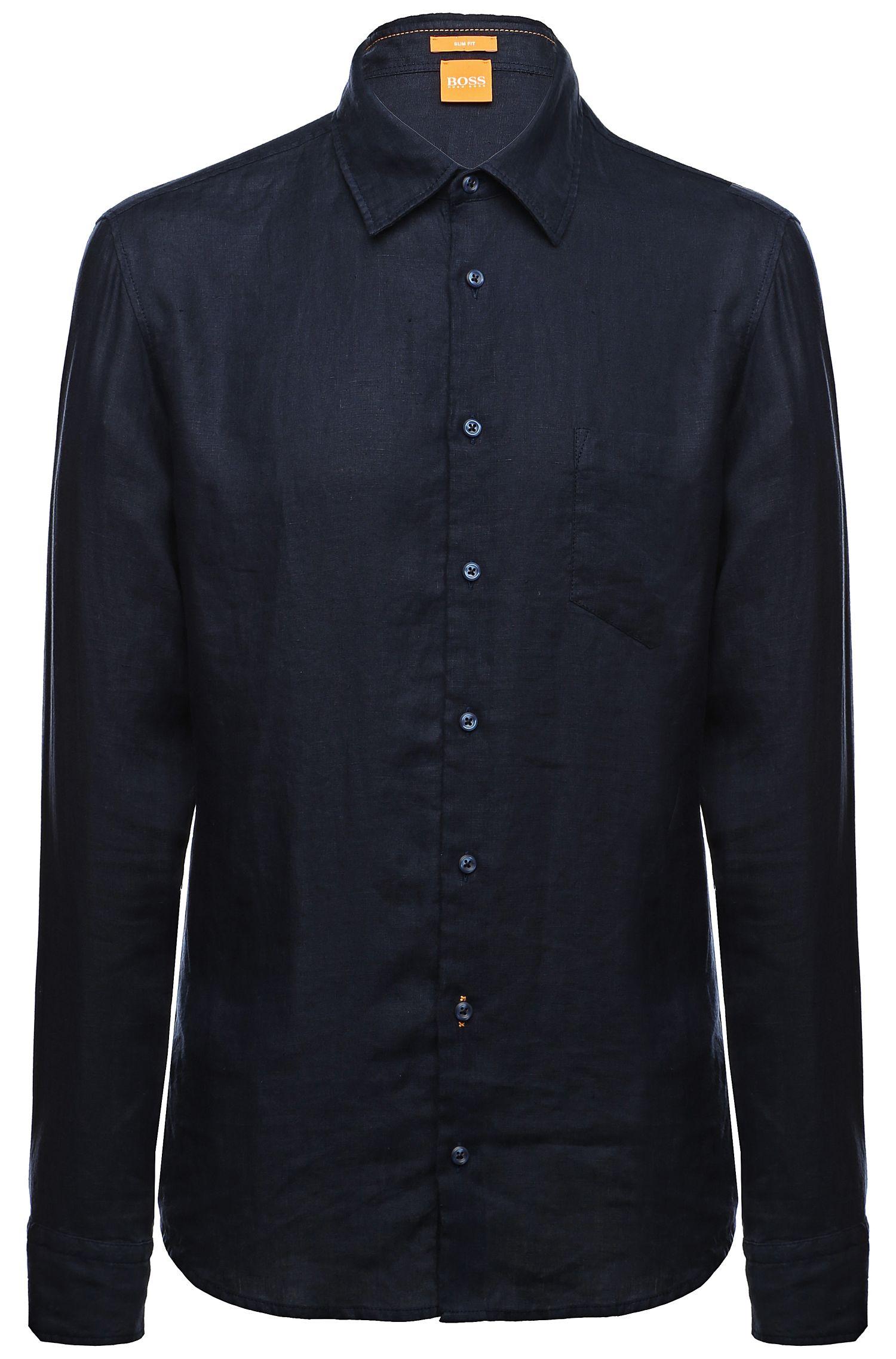 'EnameE'   Slim Fit, Linen Button Down Shirt