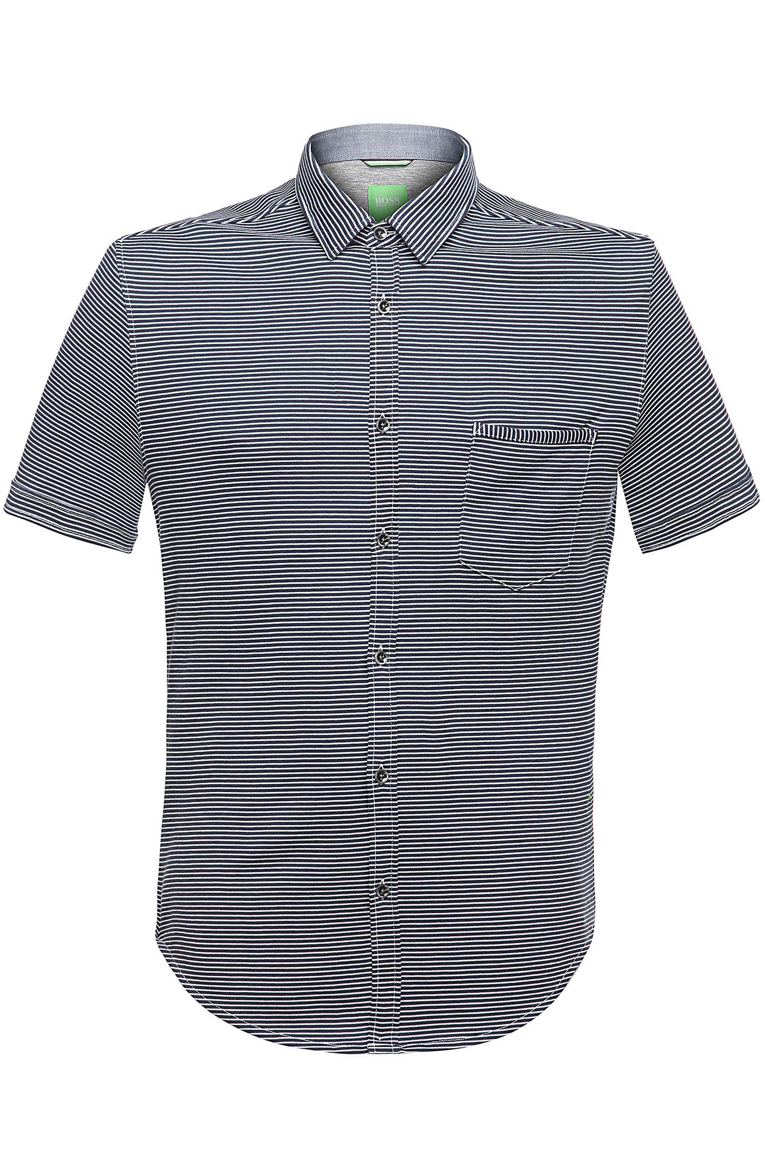 'Bascelino' | Slim Fit, Cotton Knit Button Down Shirt