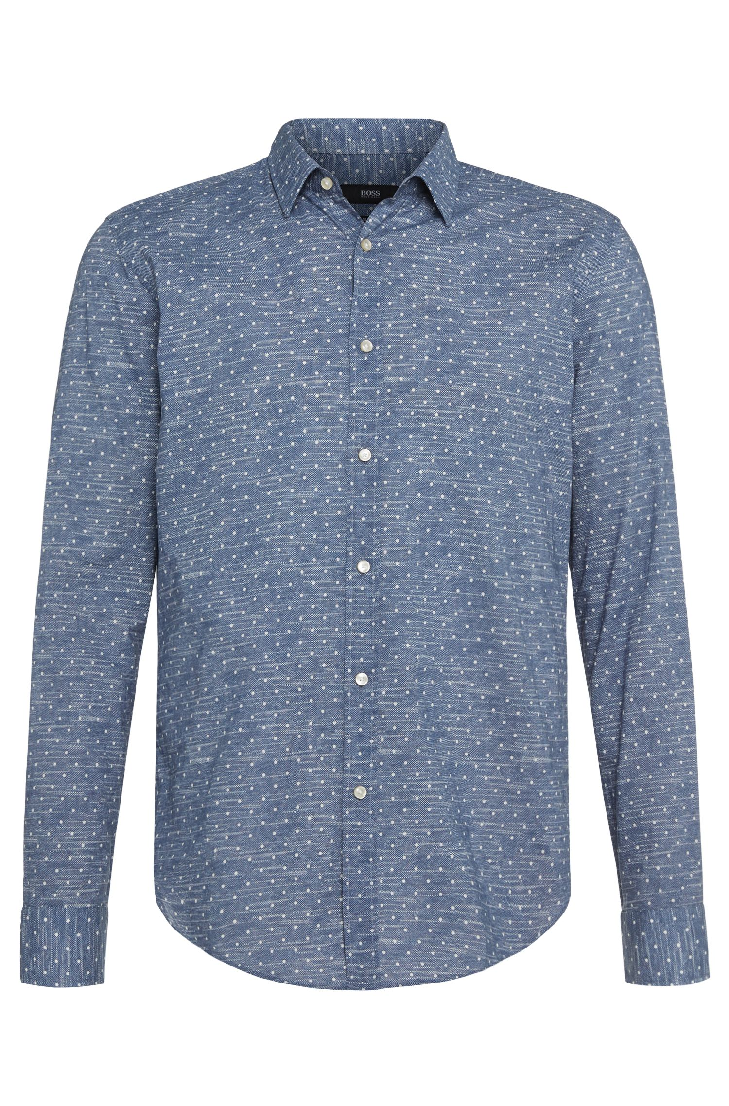 'Ronni' | Slim Fit, Italian Cotton Jersey Dot Shirt