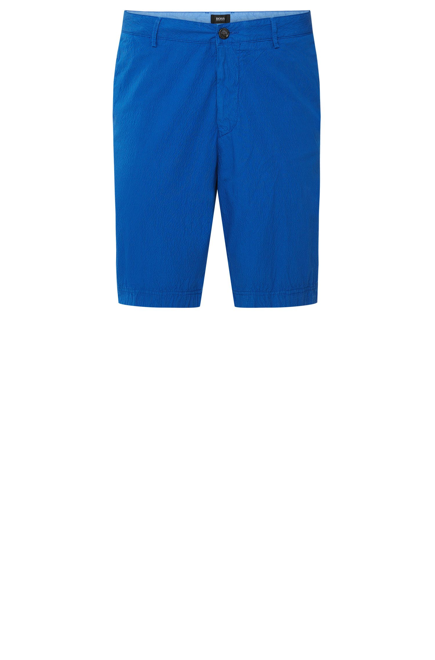 'Crigan-Short-D' | Regular Fit,  Italian Stretch Cotton Seersucker Shorts