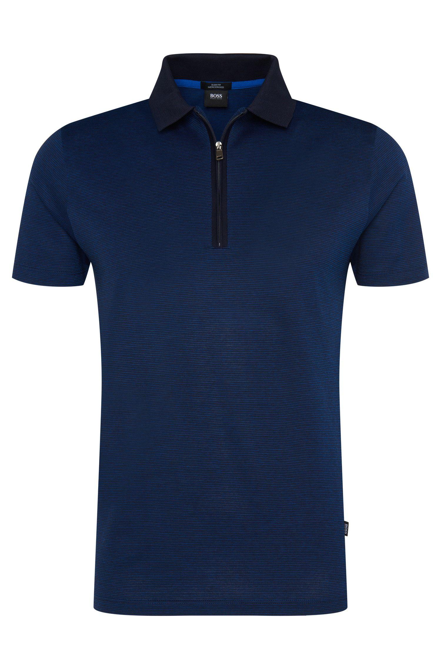 'Polston' | Slim Fit, Mercerized Cotton Zip Polo Shirt