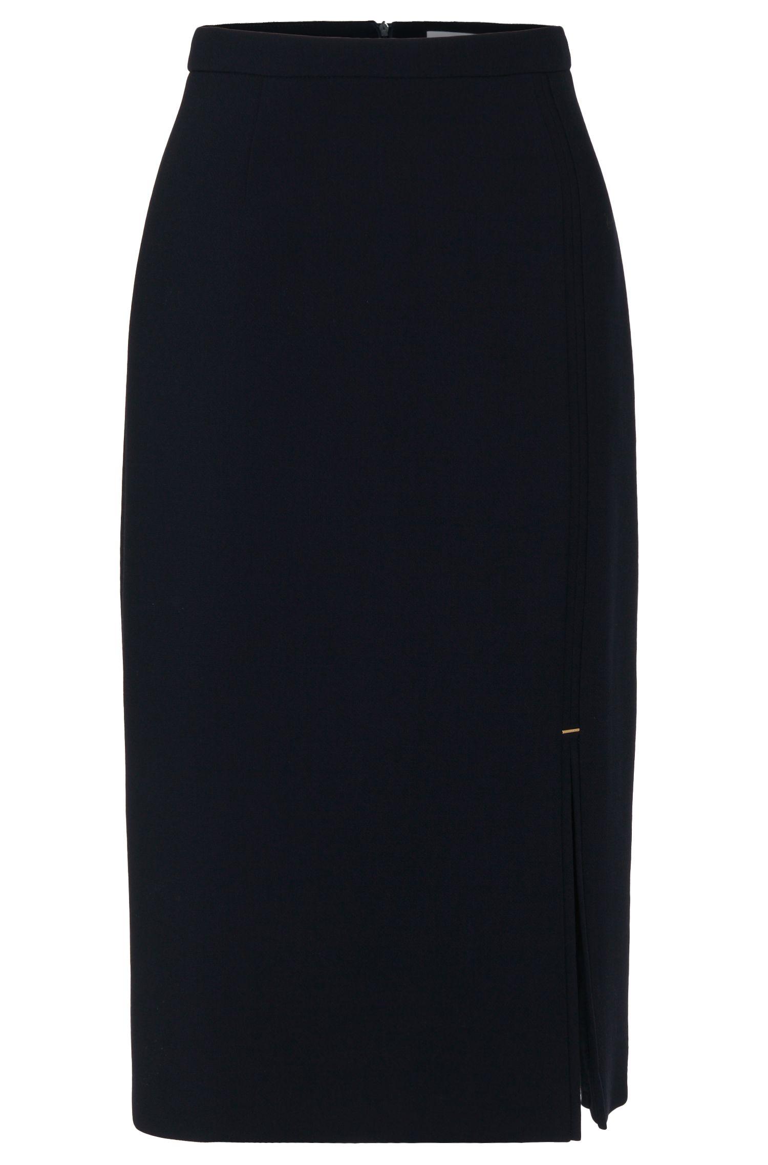 'Vicilana'   Virgin Wool Slit Pencil Skirt