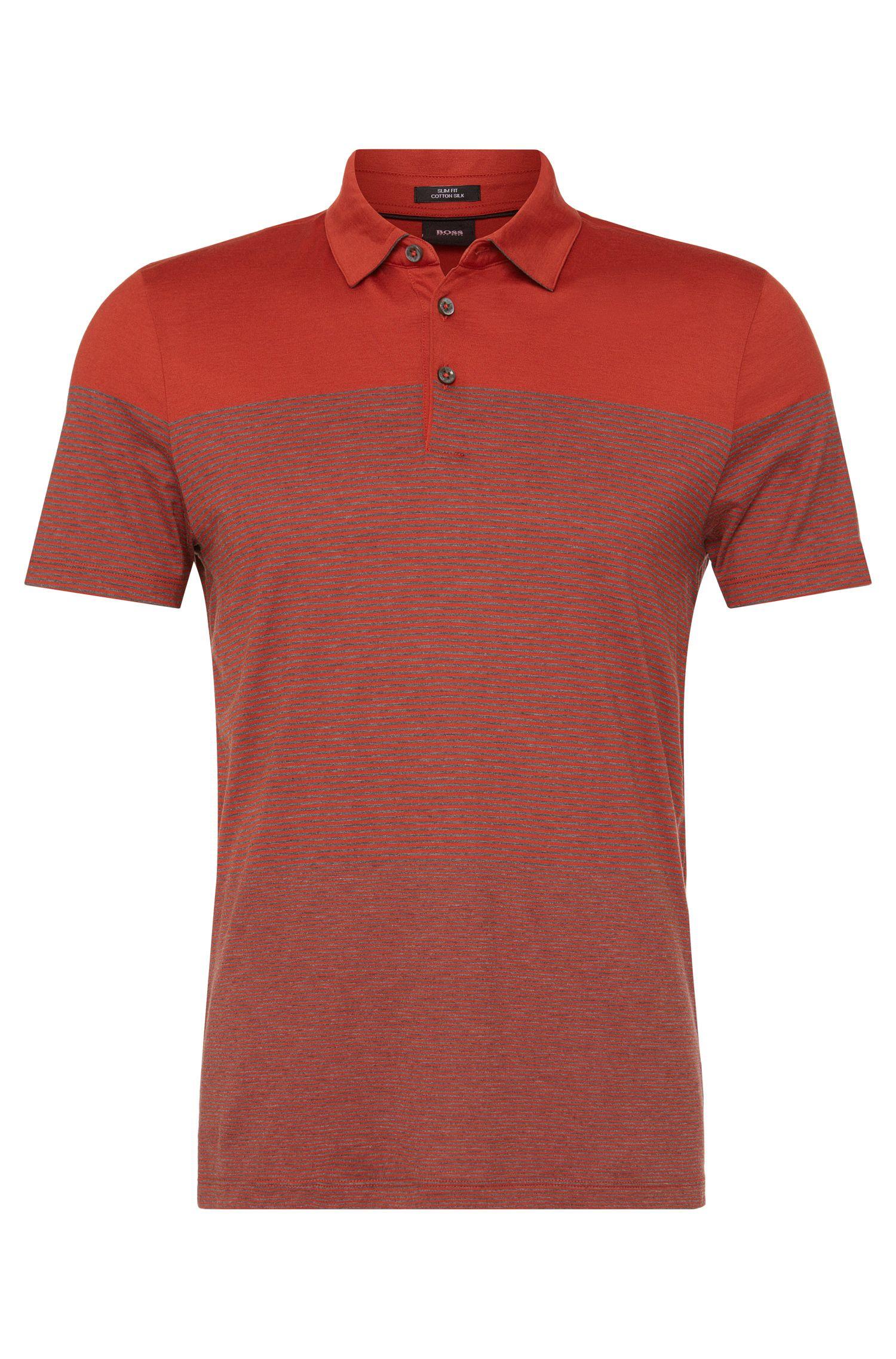 'Place' | Slim Fit, Cotton Silk Striped Polo Shirt