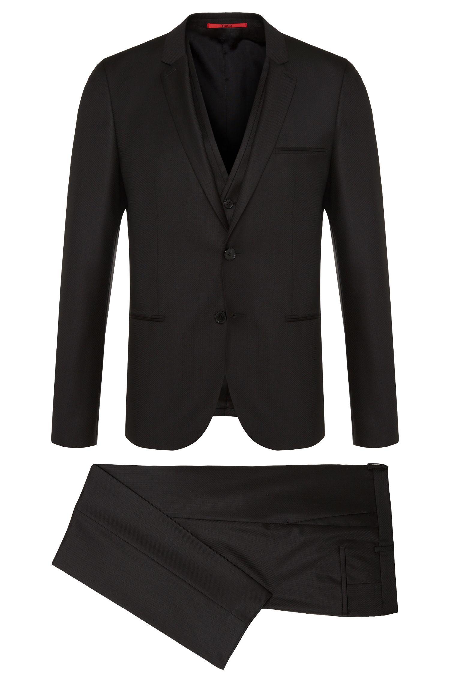 'Awald/Wins/Heibo3' | Slim Fit, Super 120 Wool 3-Piece Suit