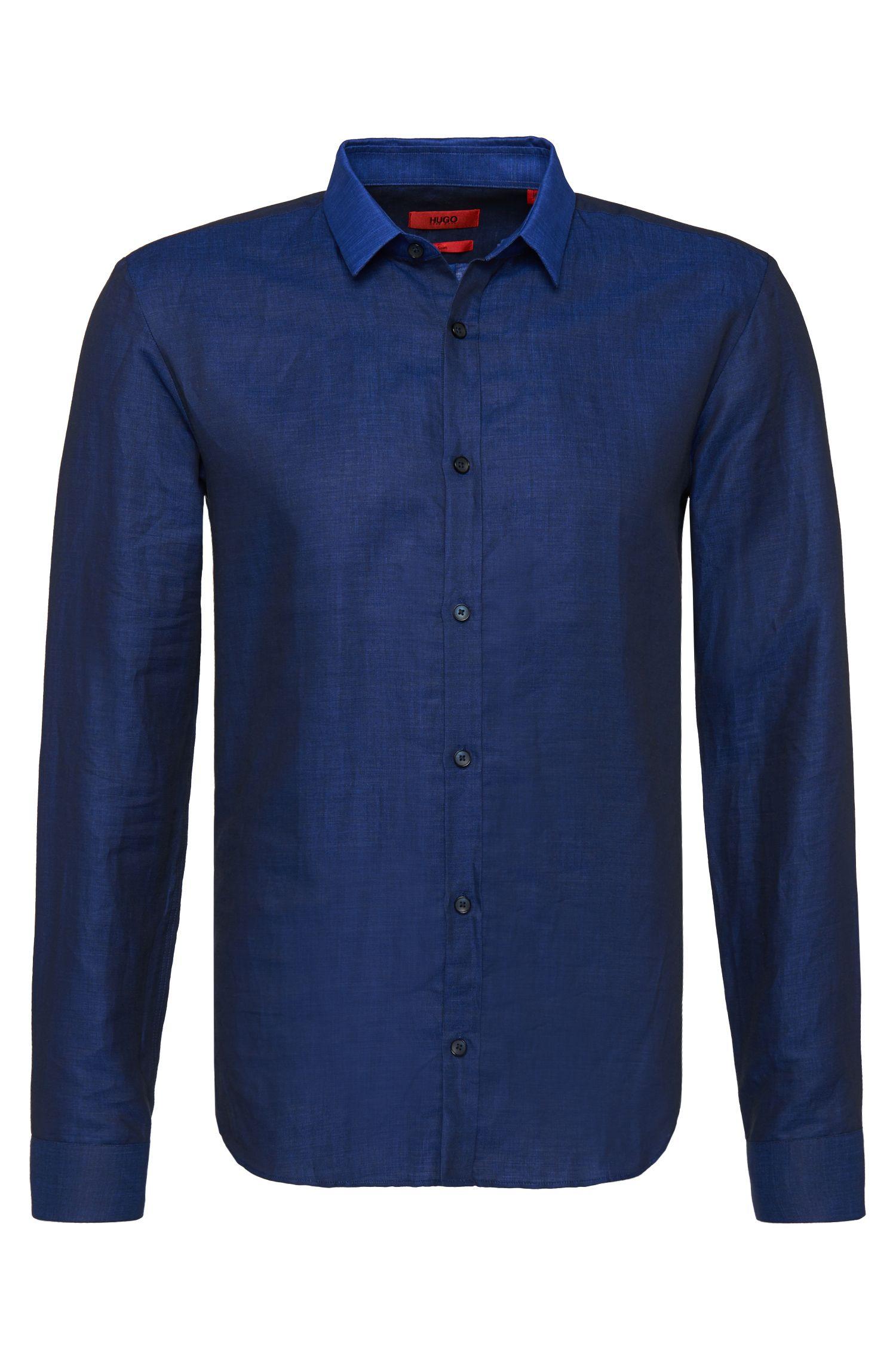 'Ero' | Slim Fit, Linen Cotton Button Down Shirt
