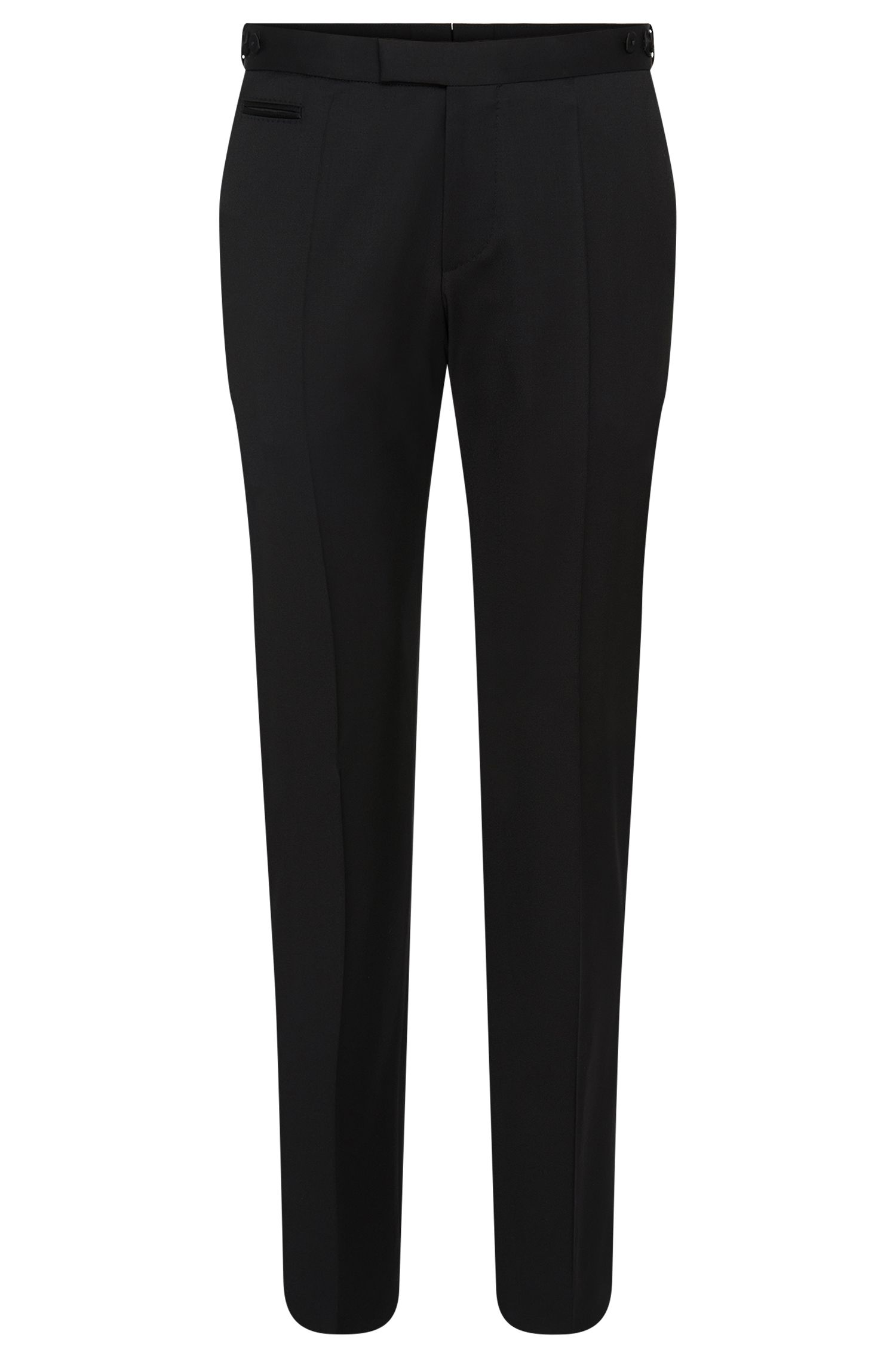'Glister' | Slim Fit, Virgin Wool Waist-Tab Dress Pants