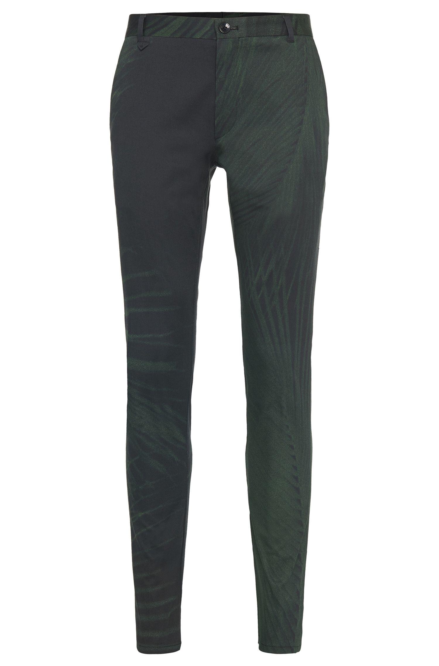 'Heldor-Print' | Extra Slim Fit, Stretch Cotton Dress Pants