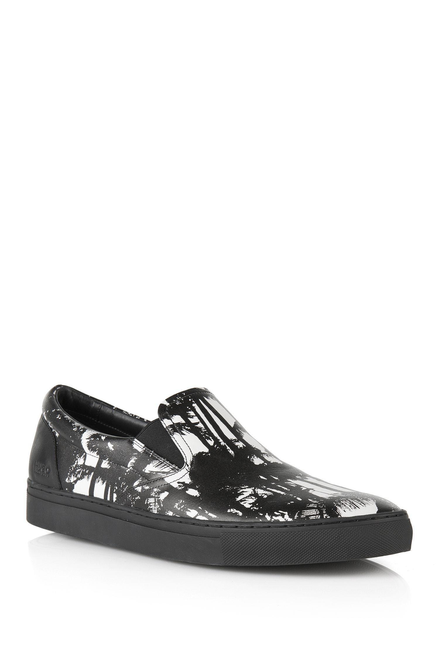 'Fuslip-Palm' | Printed Calfskin Slip-On Sneakers