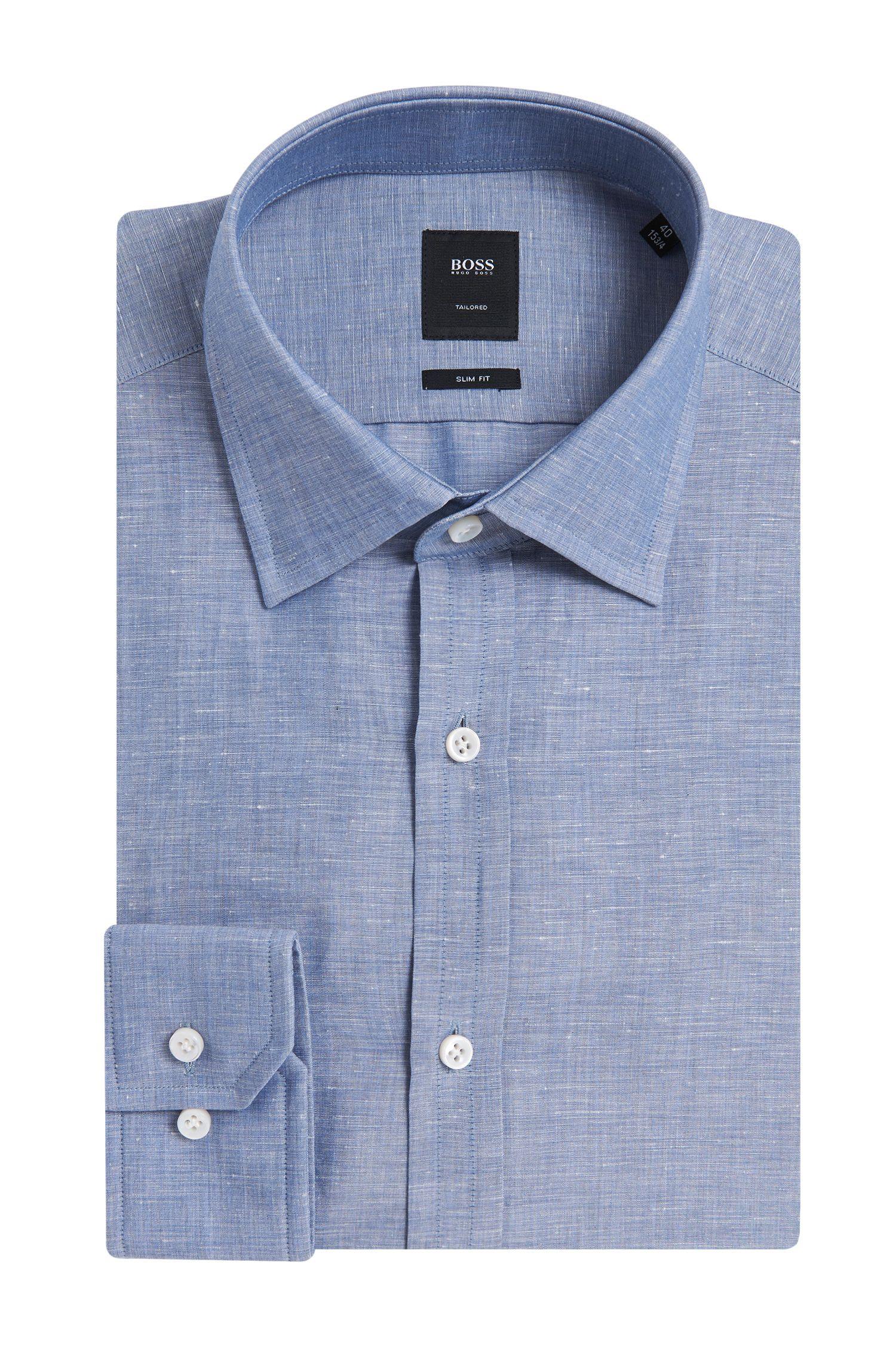 'T-Shane' | Slim Fit, Italian Linen Cotton Slub Dress Shirt