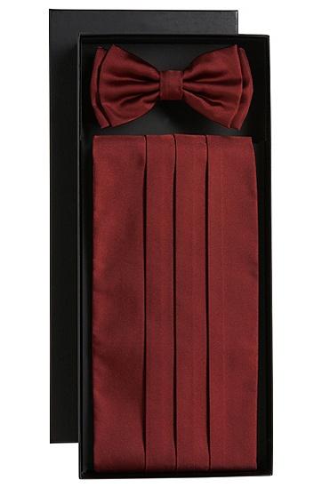 'Set bow tie+cumm' | Silk Bow Tie Cummberbund Set, Open Red