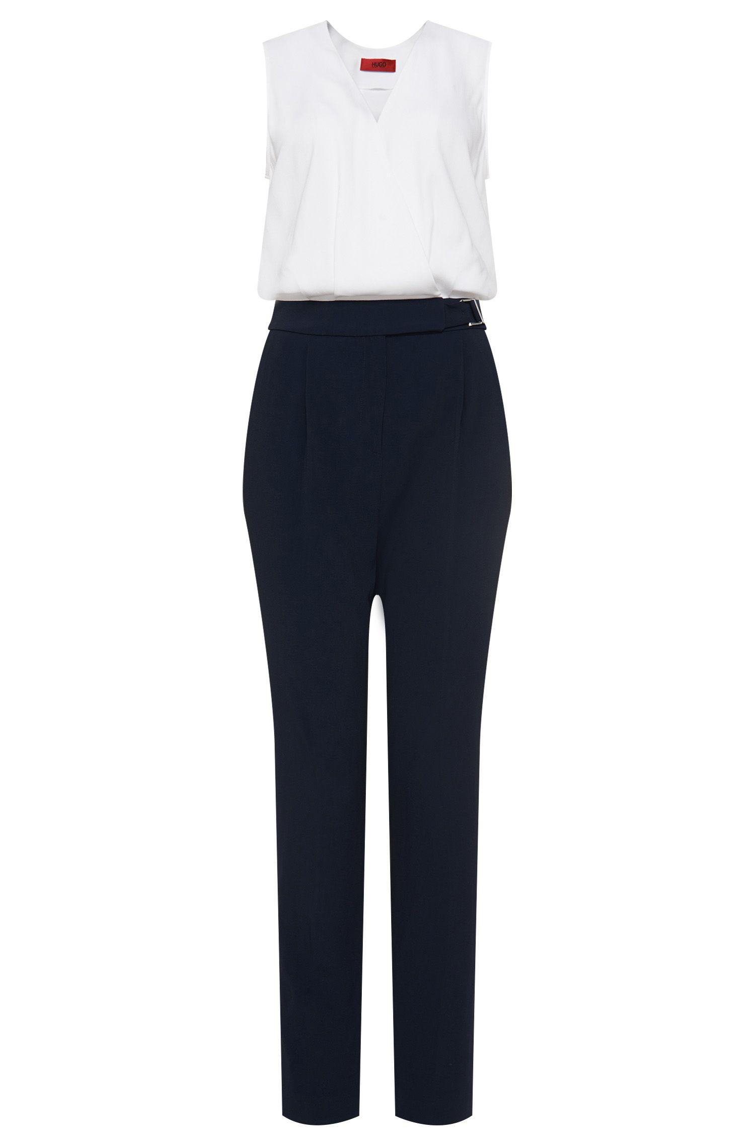'Kasha'   Stretch Crepe Belted Jumpsuit