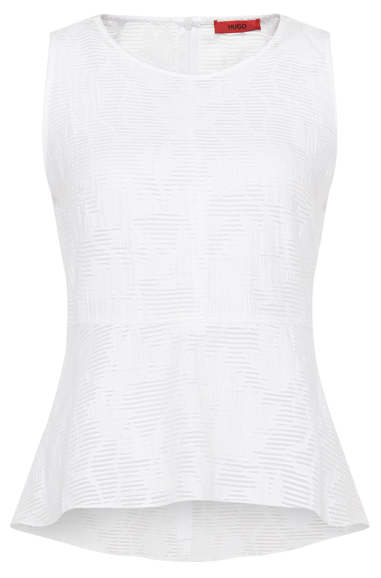 'Cindis' | Cotton Blend Semi-Sheer Peplum Top