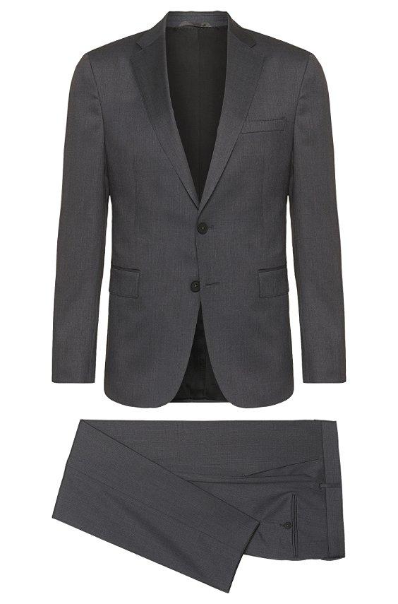 'Nestro/Byte' | Slim Fit, Super 120 Italian Wool Traveler Suit, Dark Grey