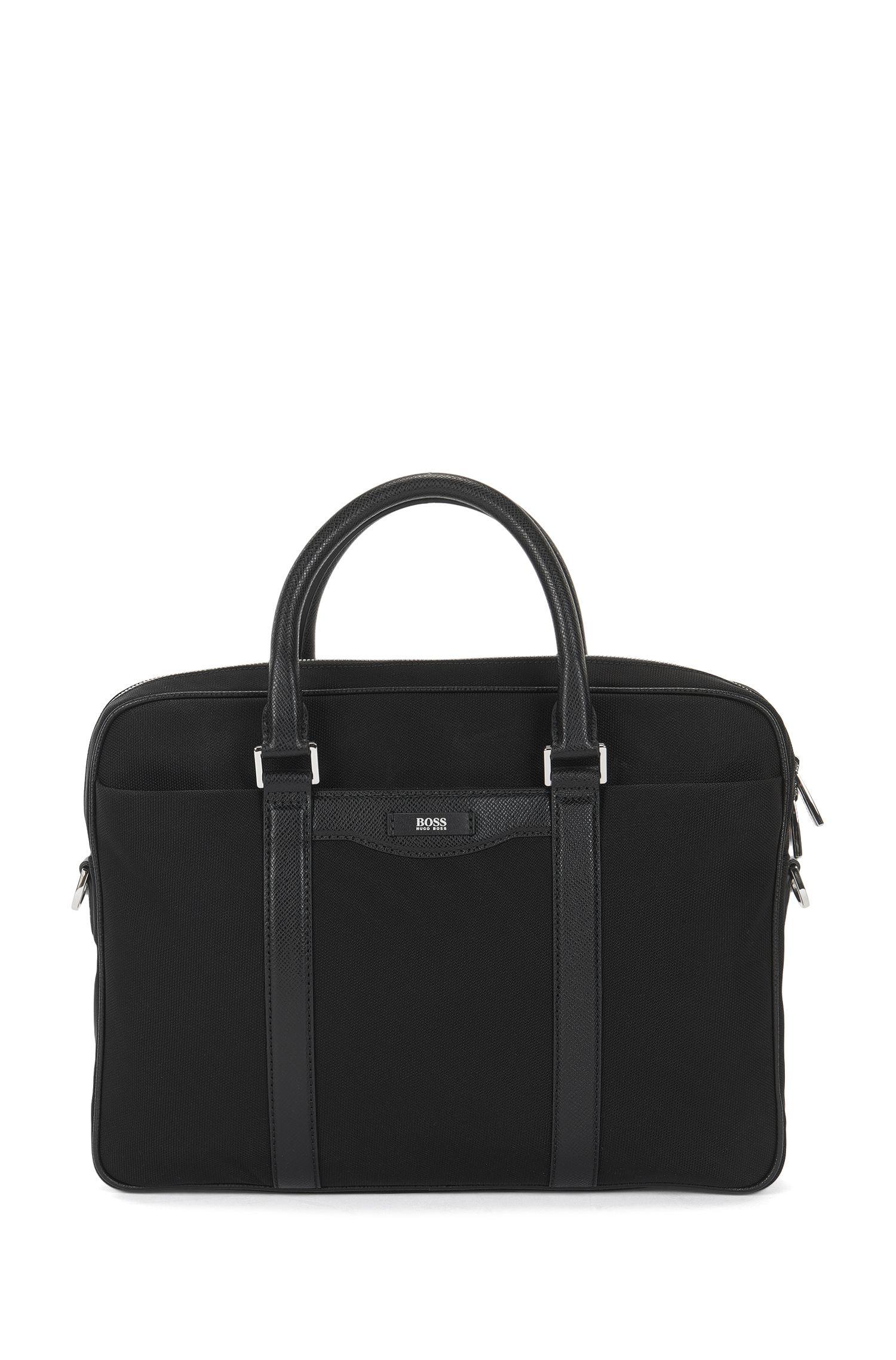 'Signature L_S doc' | Nylon Blend Workbag, Detachable Shoulder Strap