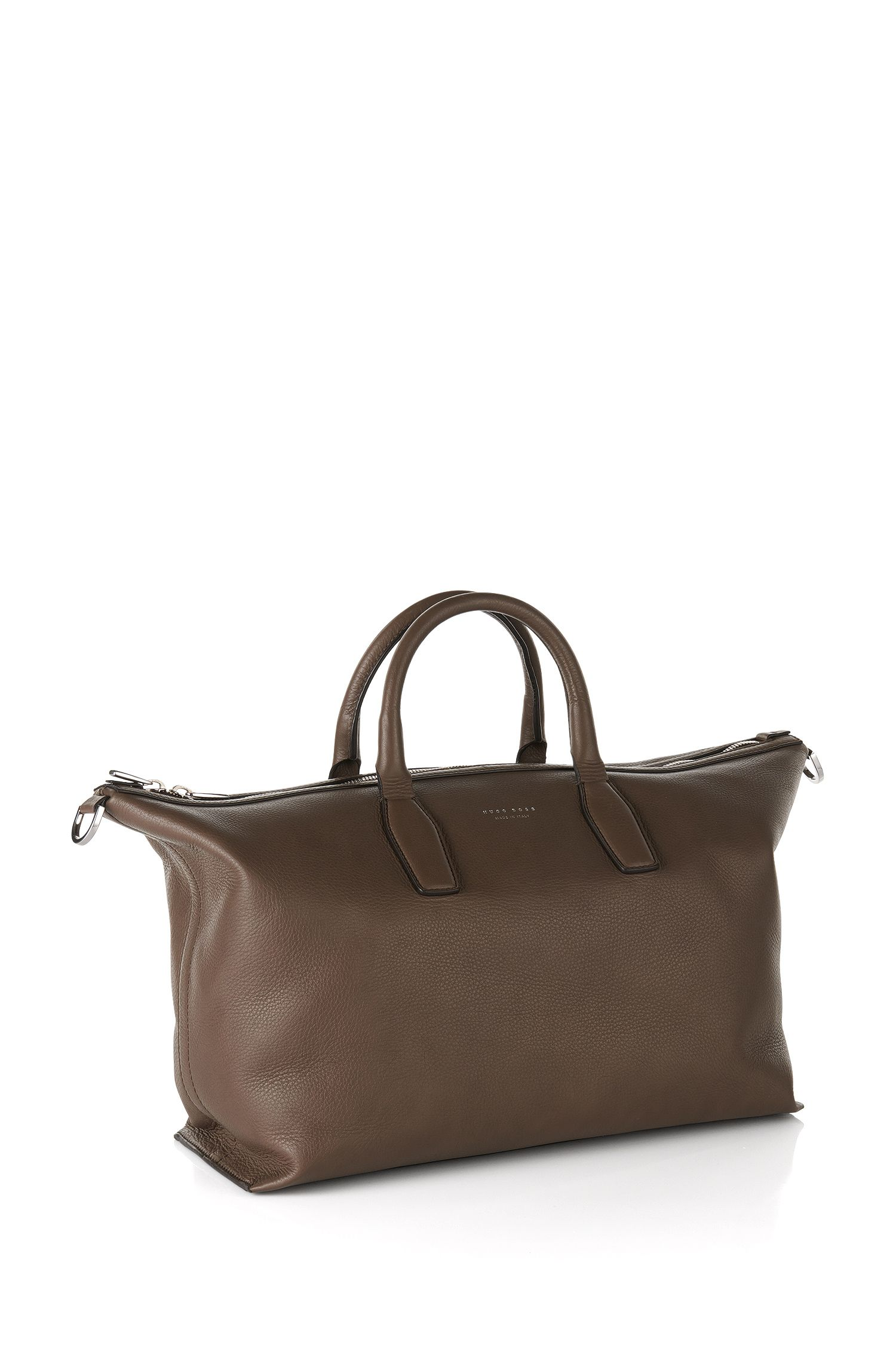 'Softy_Holdall' | Italian Leather Weekender Bag, Detachable Strap