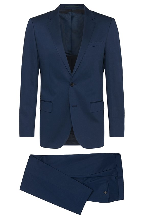'Huge/Genius' | Slim Fit, Stretch Cotton Suit, Dark Blue