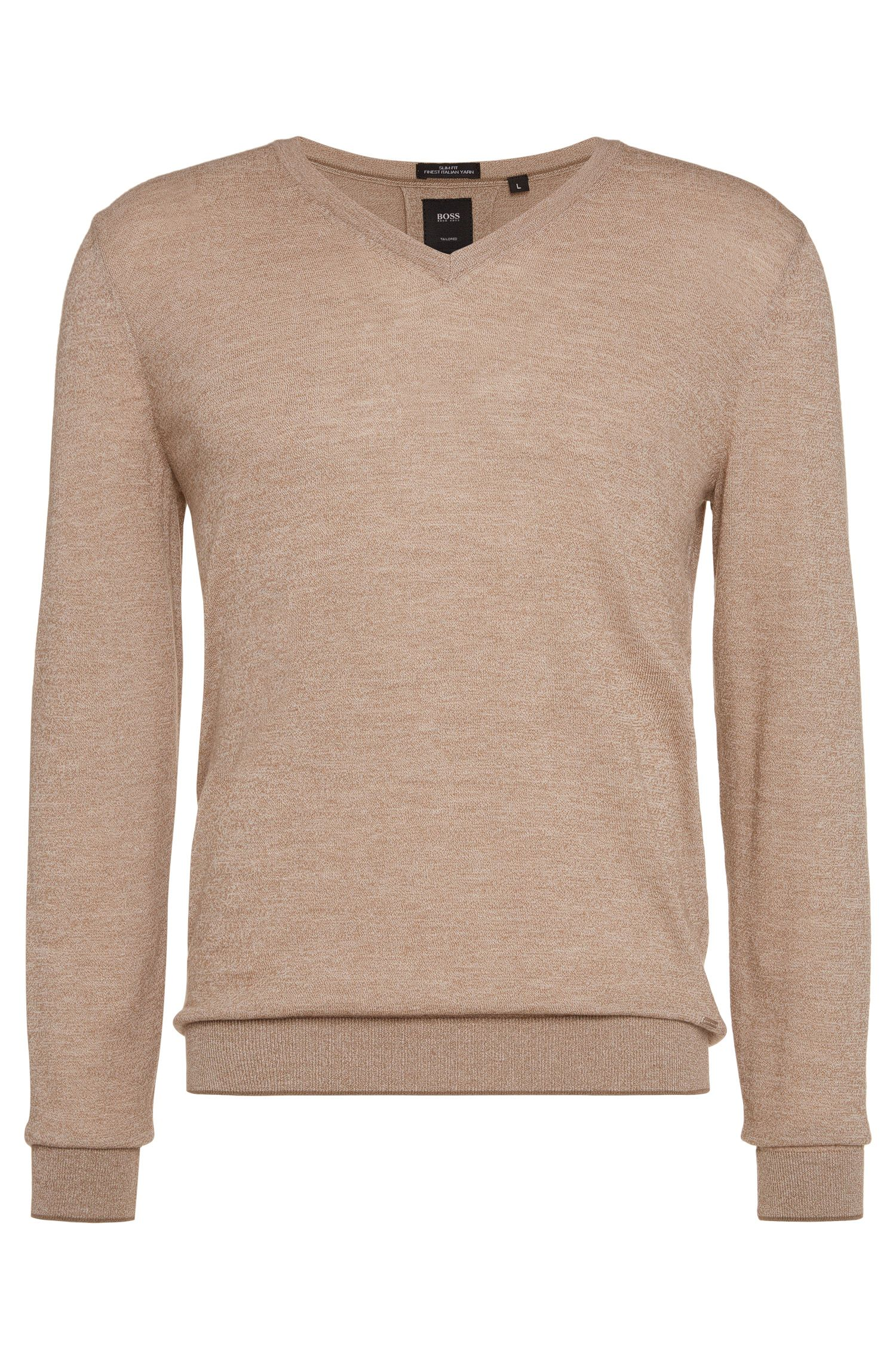 'T-Harrie' | V-Neck Italian Virgin Wool Cotton Sweater