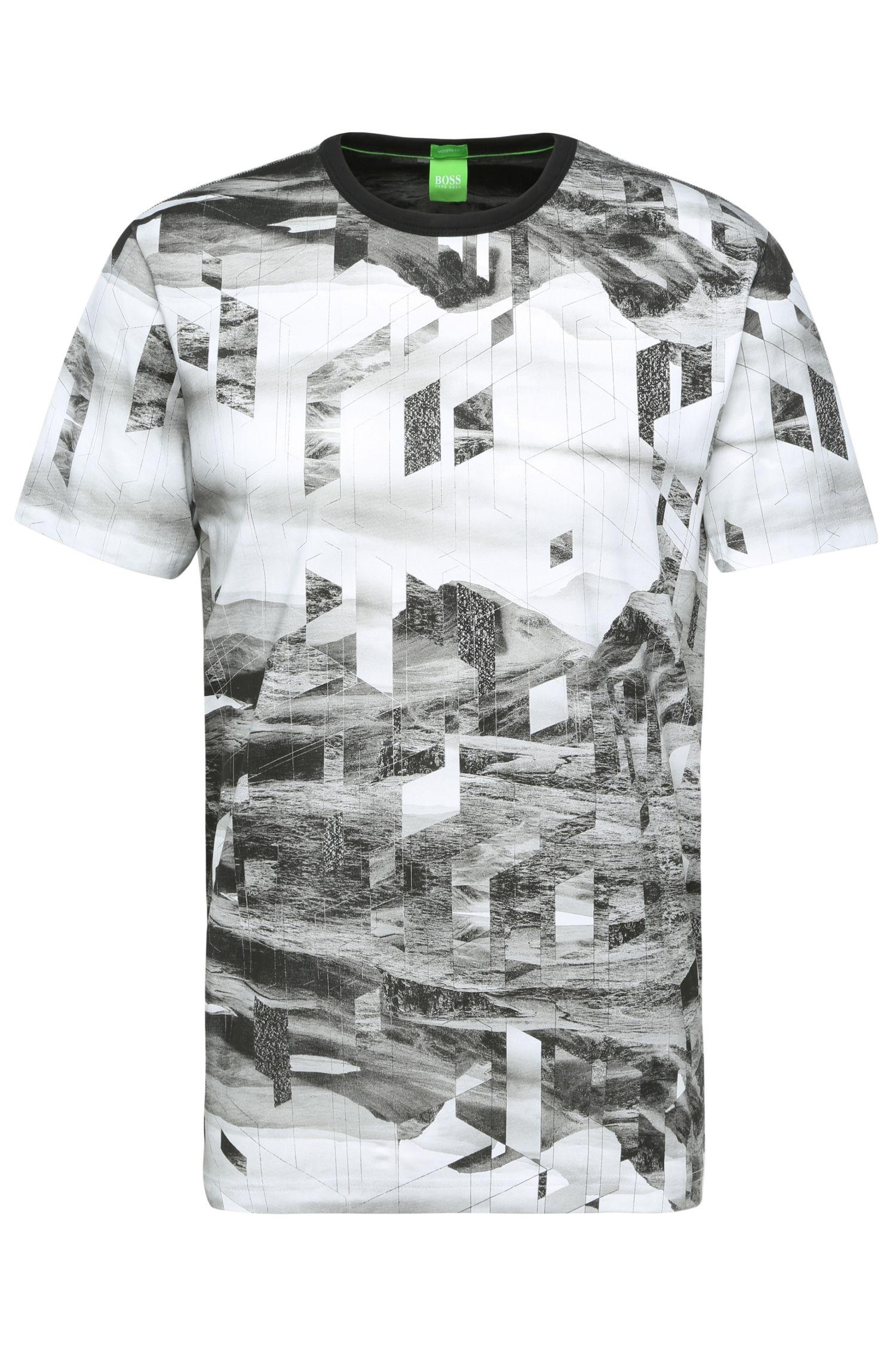 'Tee 6' | Stretch Cotton Print T-Shirt