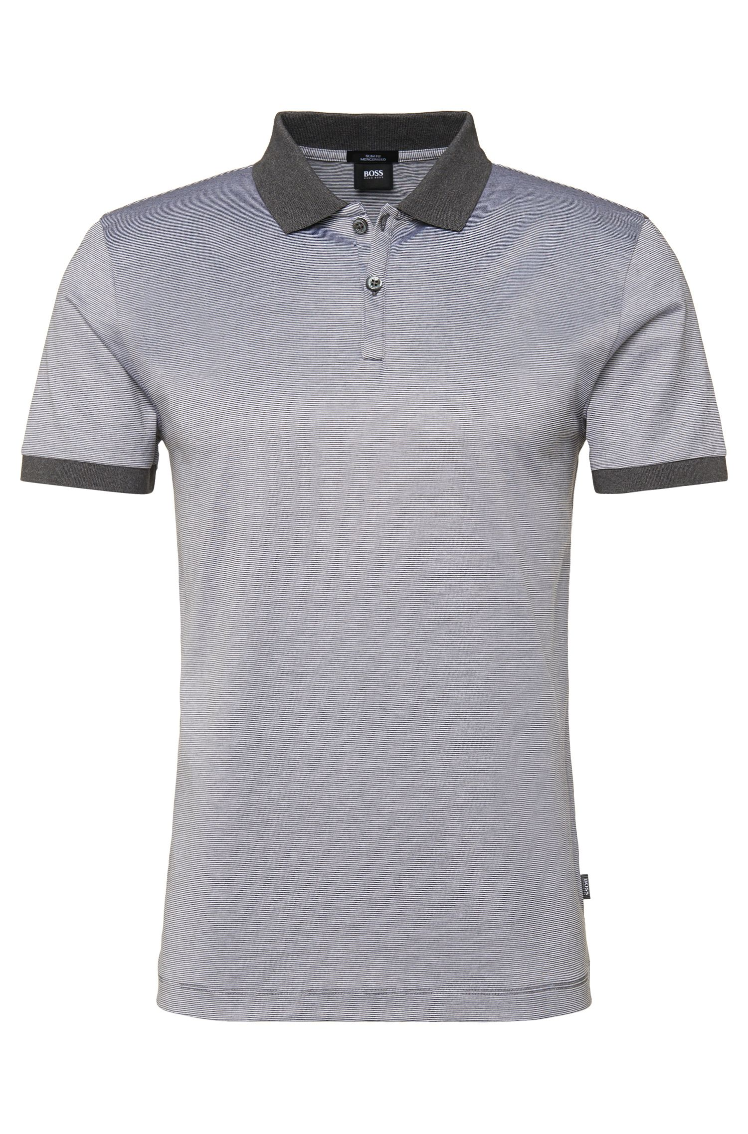 'Penrose' | Slim Fit, Mercerized Cotton Striped Polo