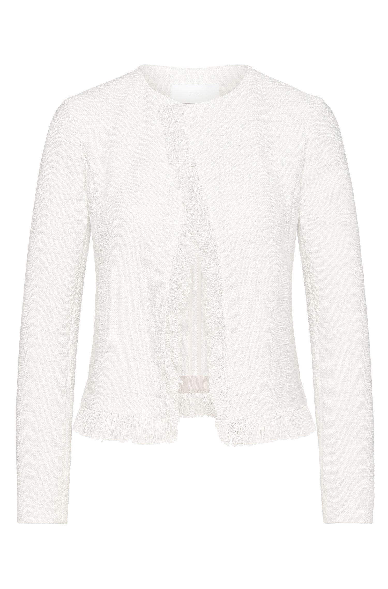 'Komina' | Stretch Tweed Open Fringed Jacket