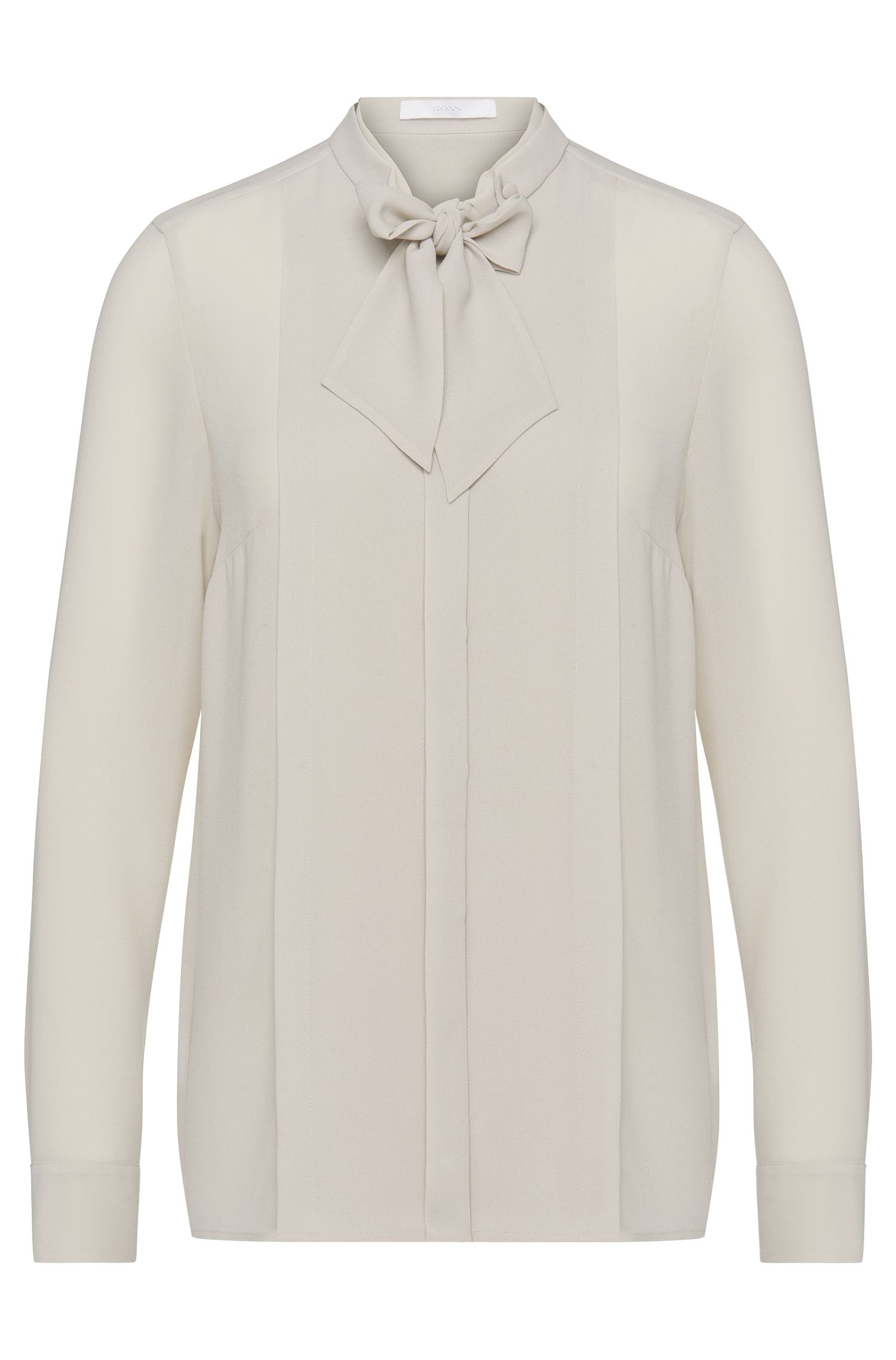 'Baling' | Stretch Crepe Draped Bow Blouse