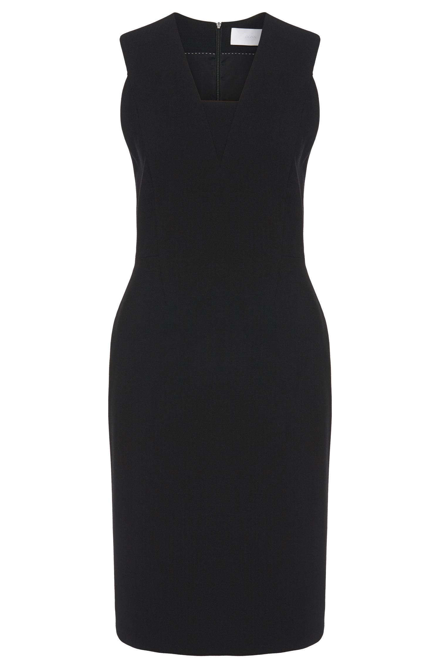 'Duenasina' | Stretch Virgin Wool  Herringbone Sheath Dress