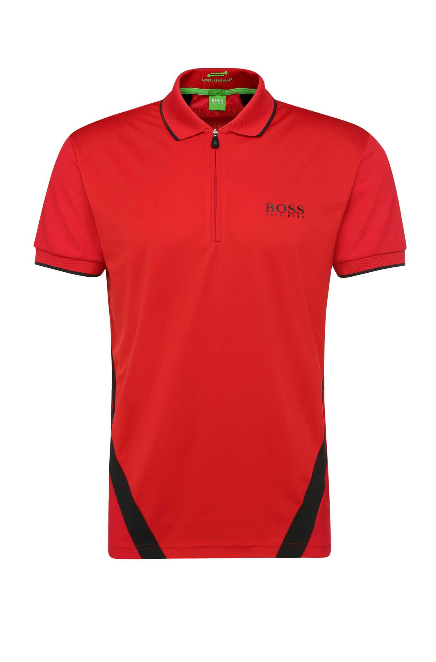 'Perret Pro' | Slim Fit, Stretch Tech Racing Stripe Polo