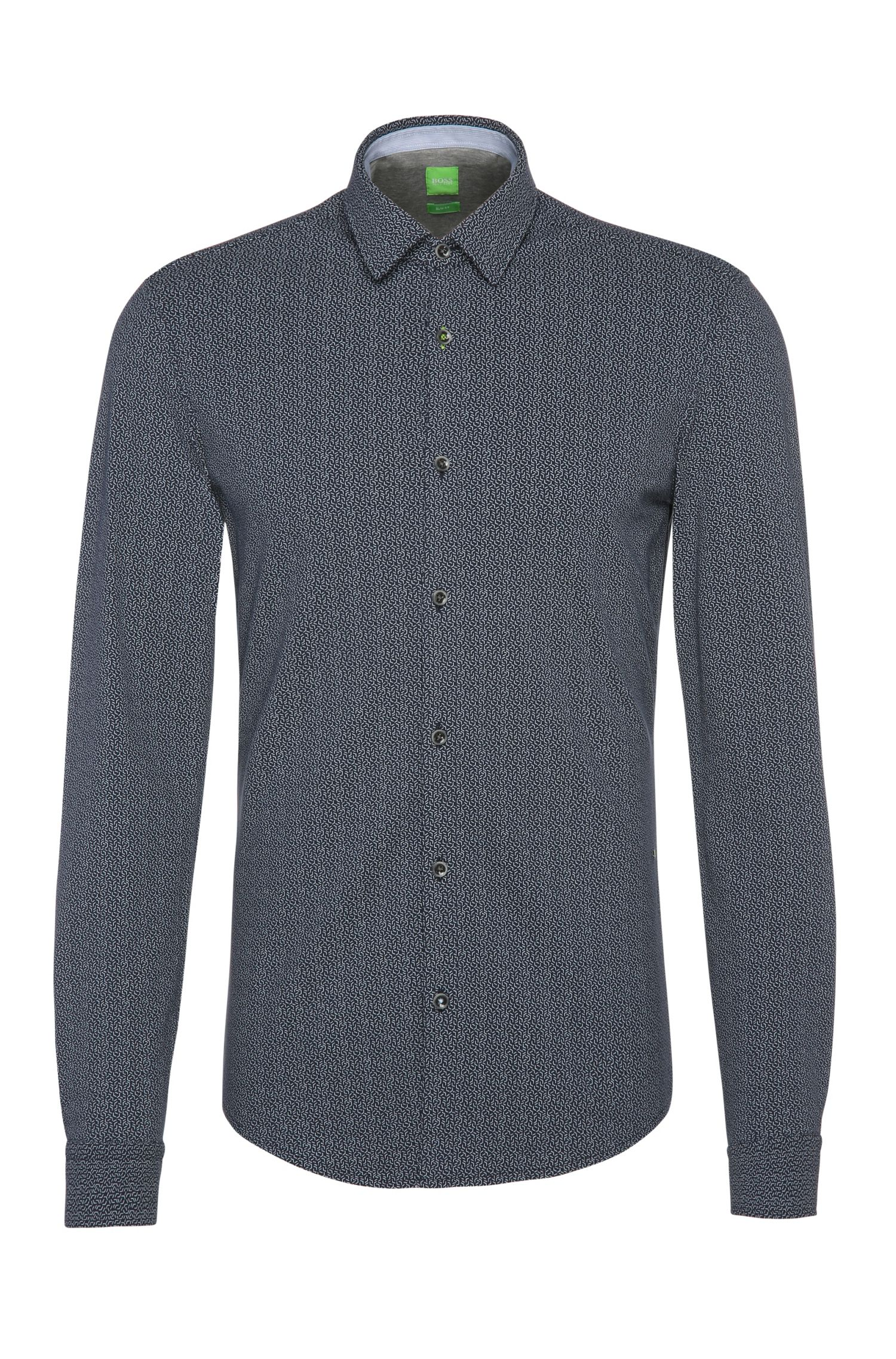 'Barbe' | Slim Fit, Stretch Cotton Jersey Button Down Shirt
