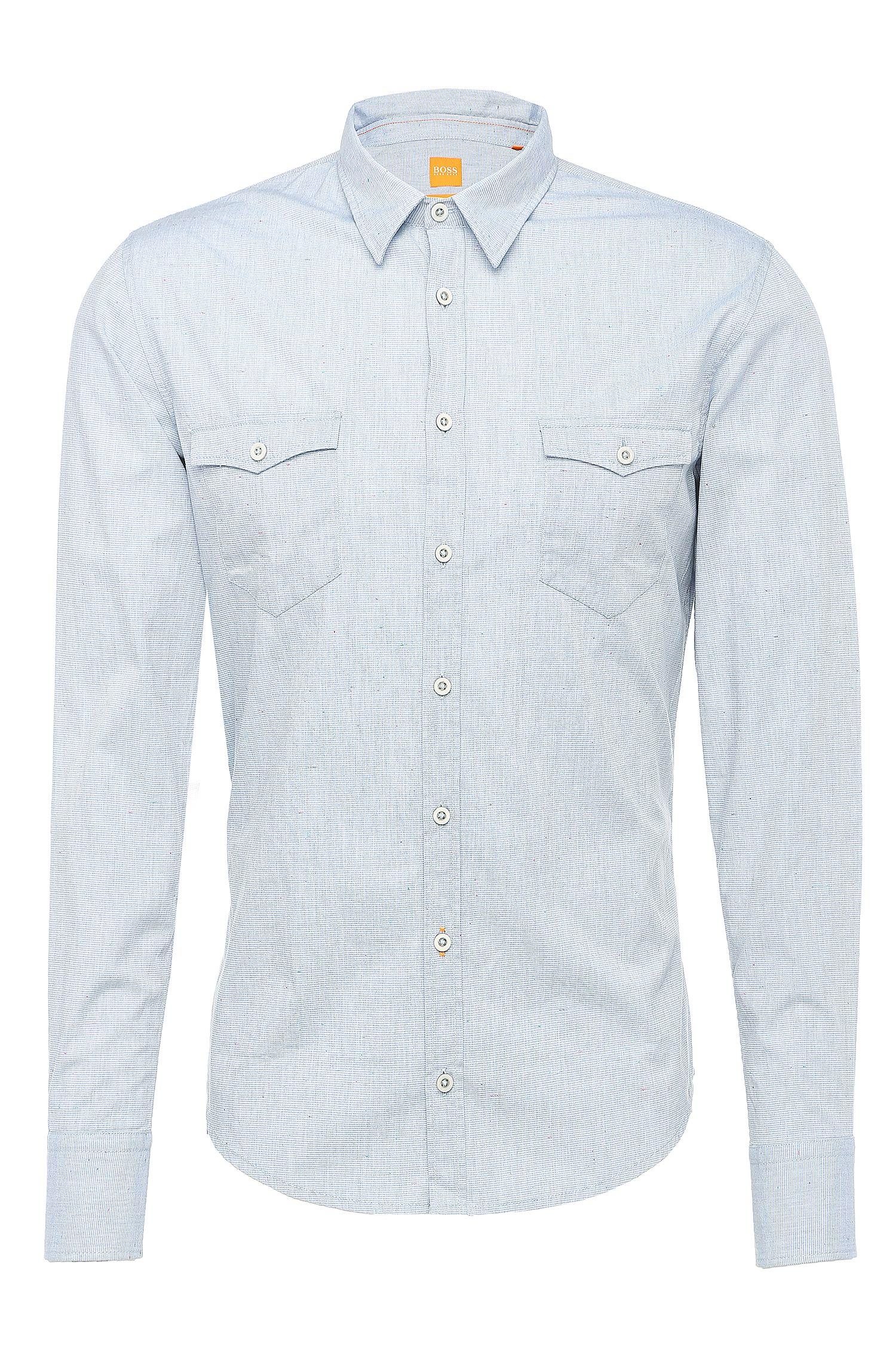 'EdoslimE' | Slim Fit, Cotton Blend Slub Contrast Button Down Shirt