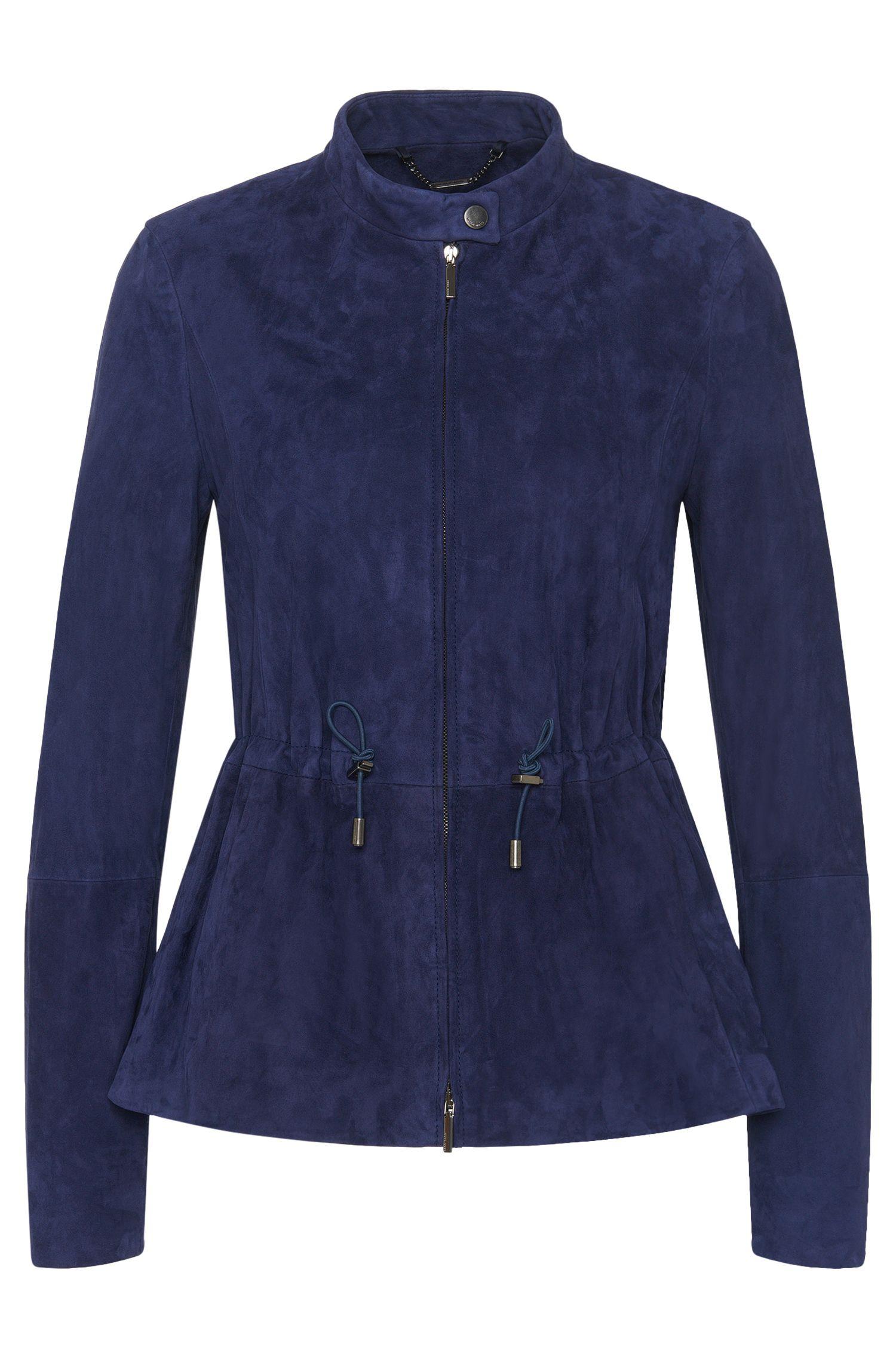'Salova' | Lamb Leather Drawstring Peplum Jacket
