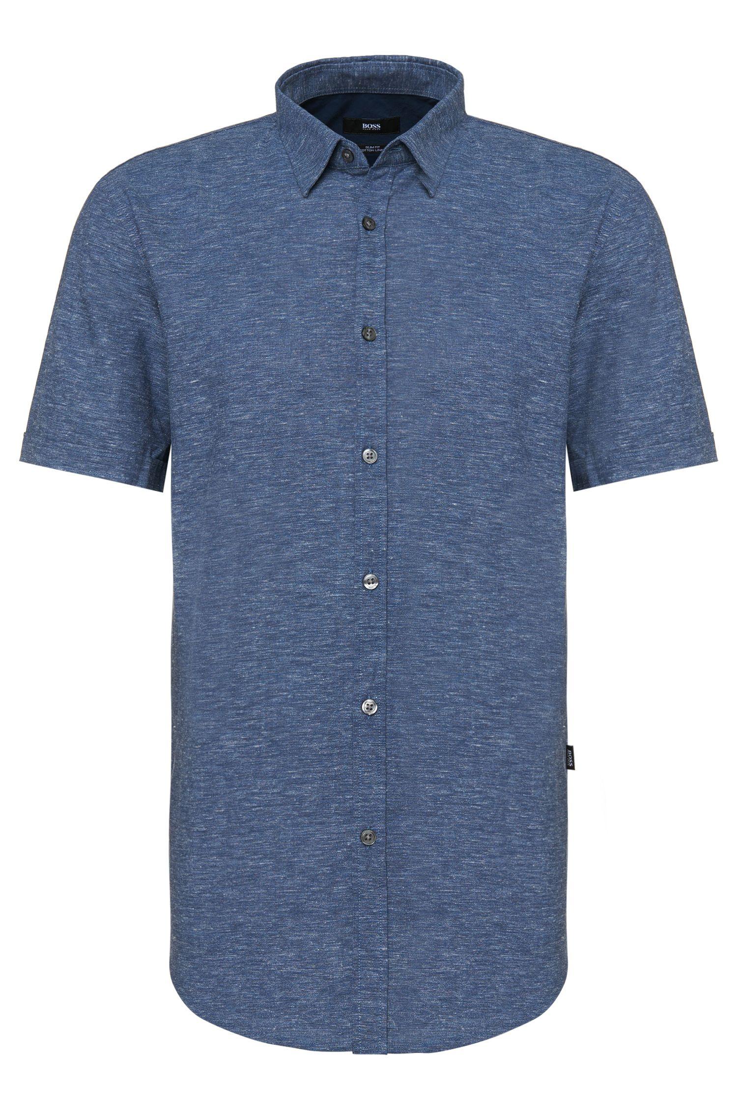 'Ronn' | Slim Fit, Cotton Linen Button Down Shirt