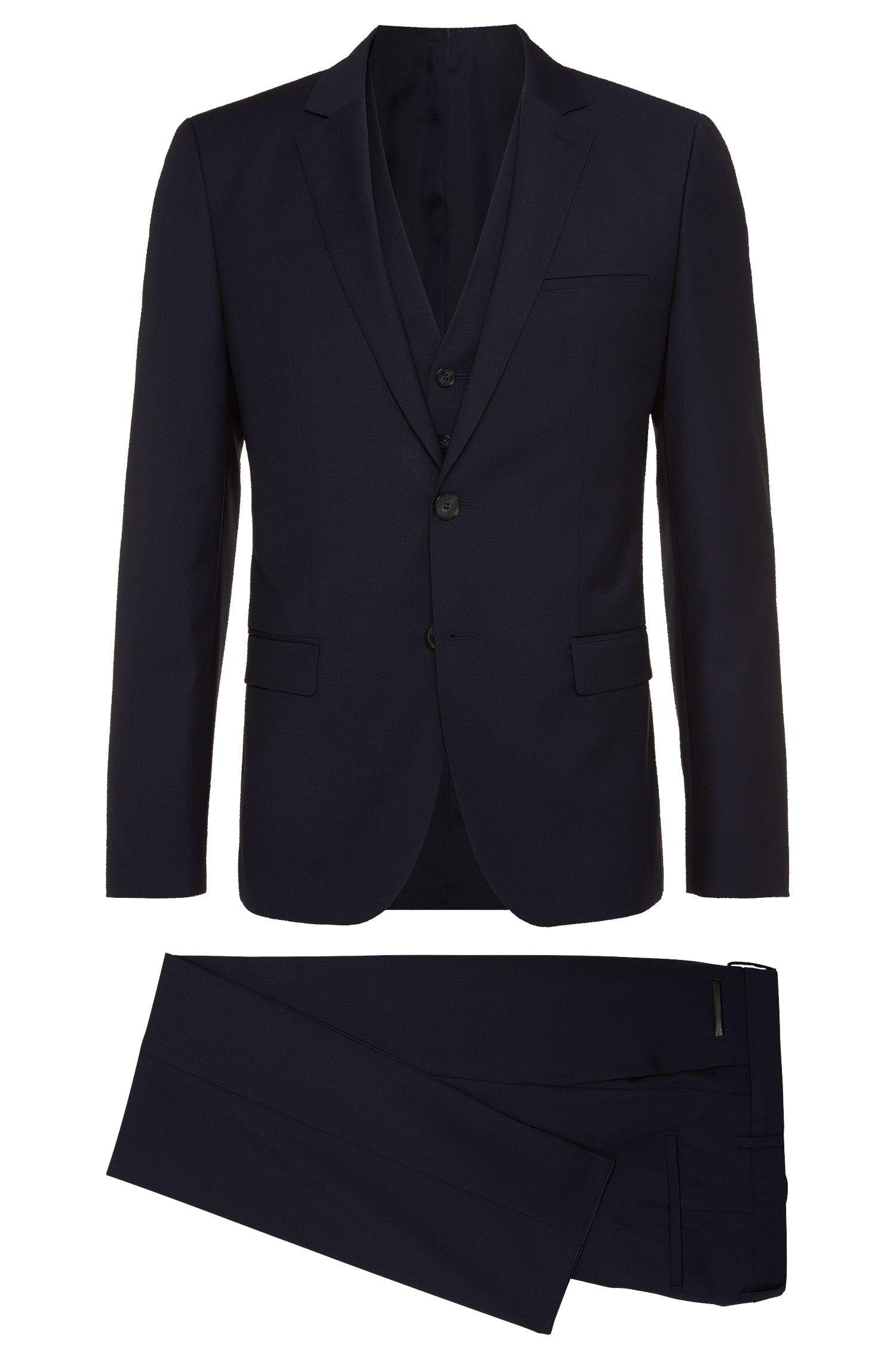'Alin/Wyns/Hetlin' | Slim Fit, Virgin Wool Chevron 3-Piece Suit
