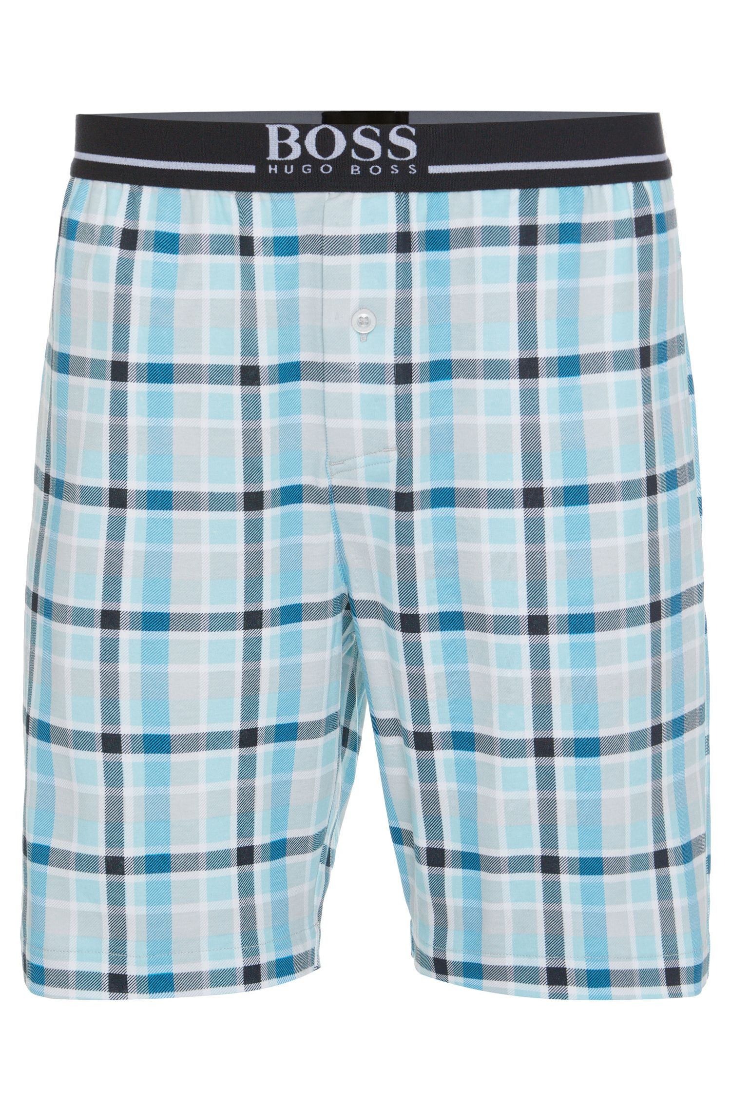'Short Pant EW Jersey' | Cotton Plaid Lounge Shorts