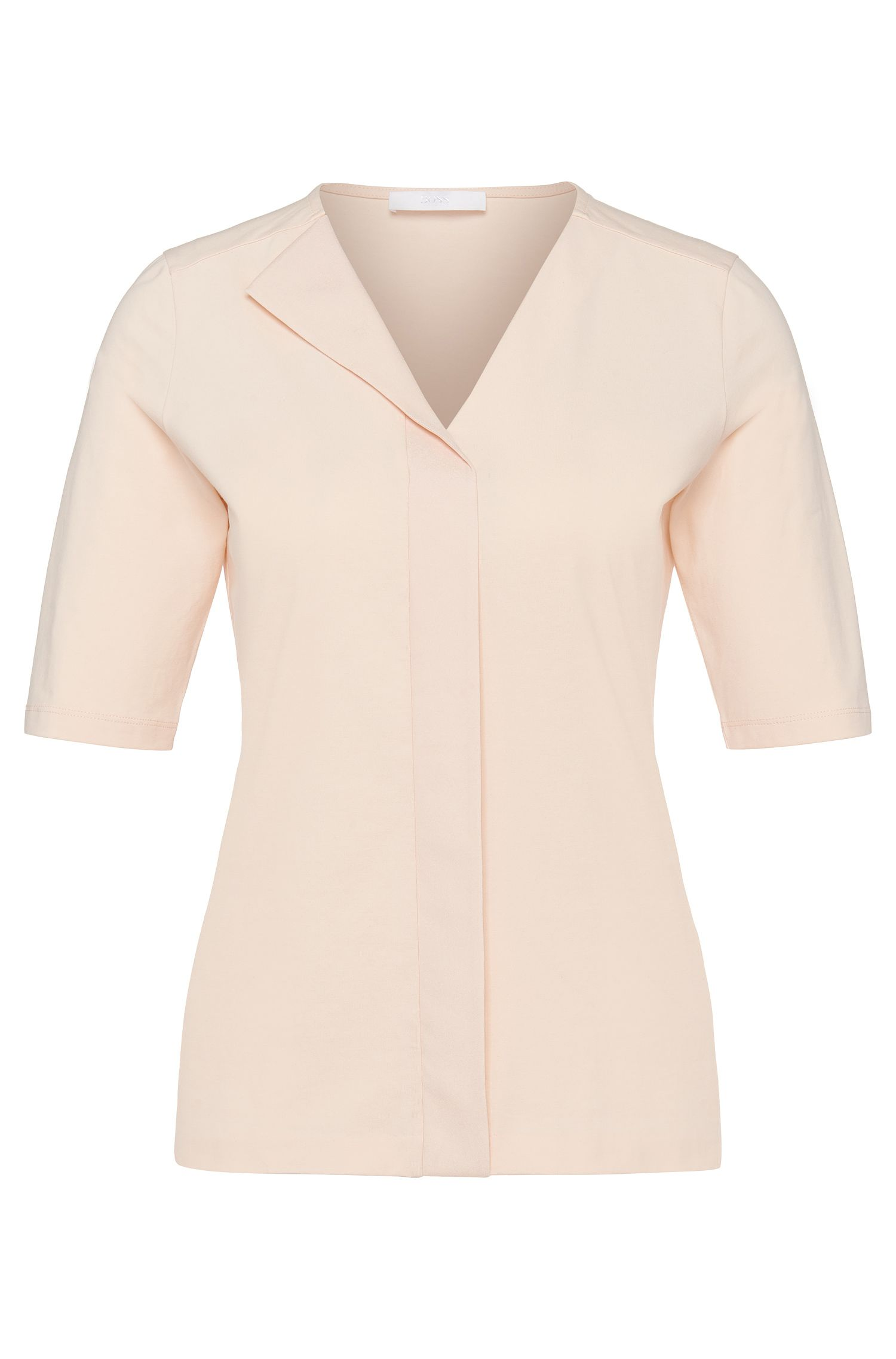 'Eskel' | Stretch Cotton Layered V-neck Blouse