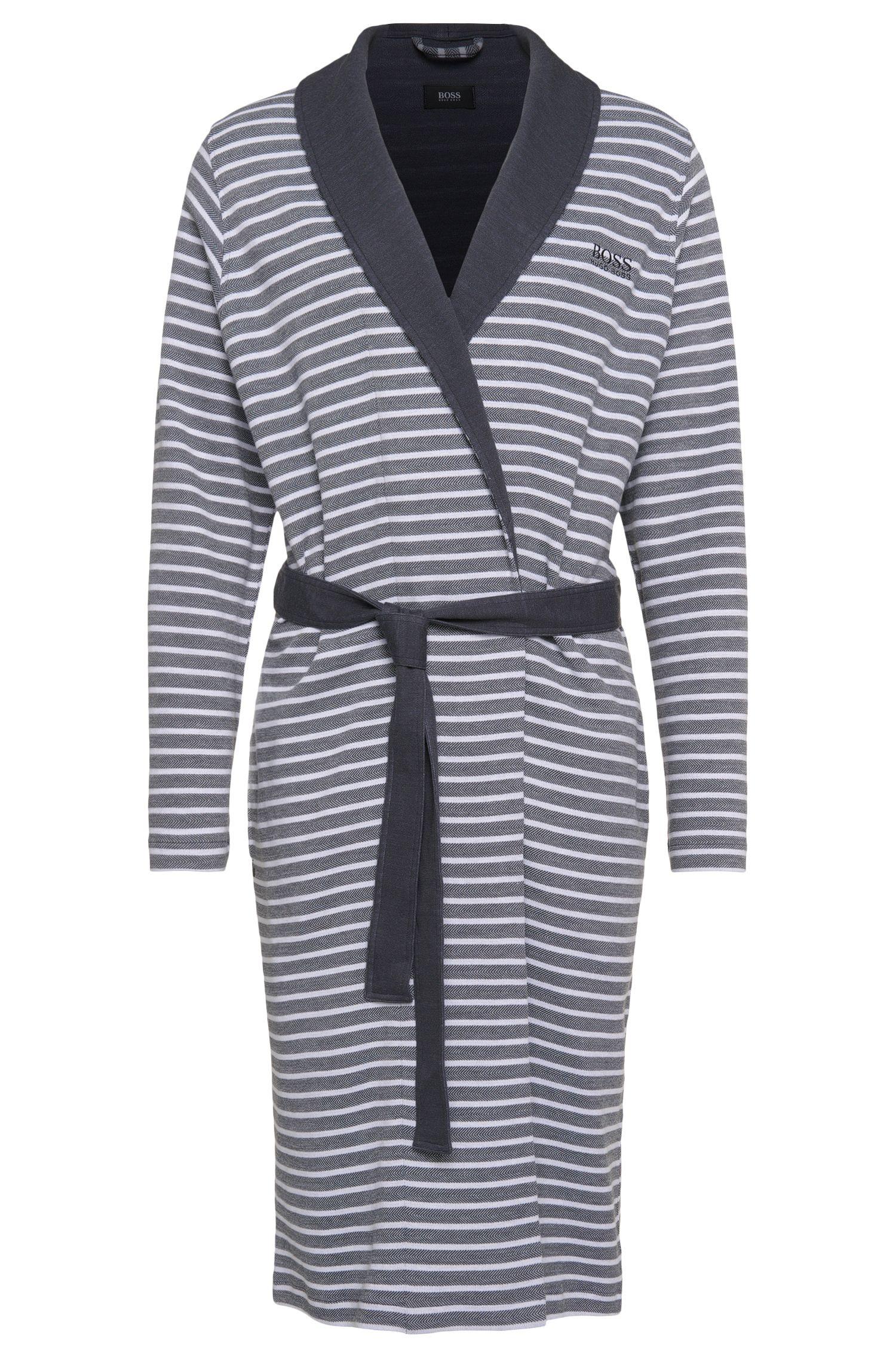 'Shawl Collar Robe' | Cotton Blend Herringbone Striped Robe