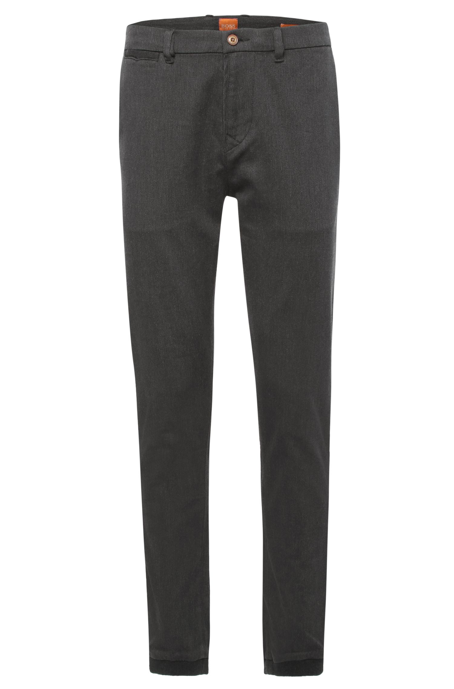 'Simian W' | Slim Fit, Stretch Cotton Banded Cuff Trousers