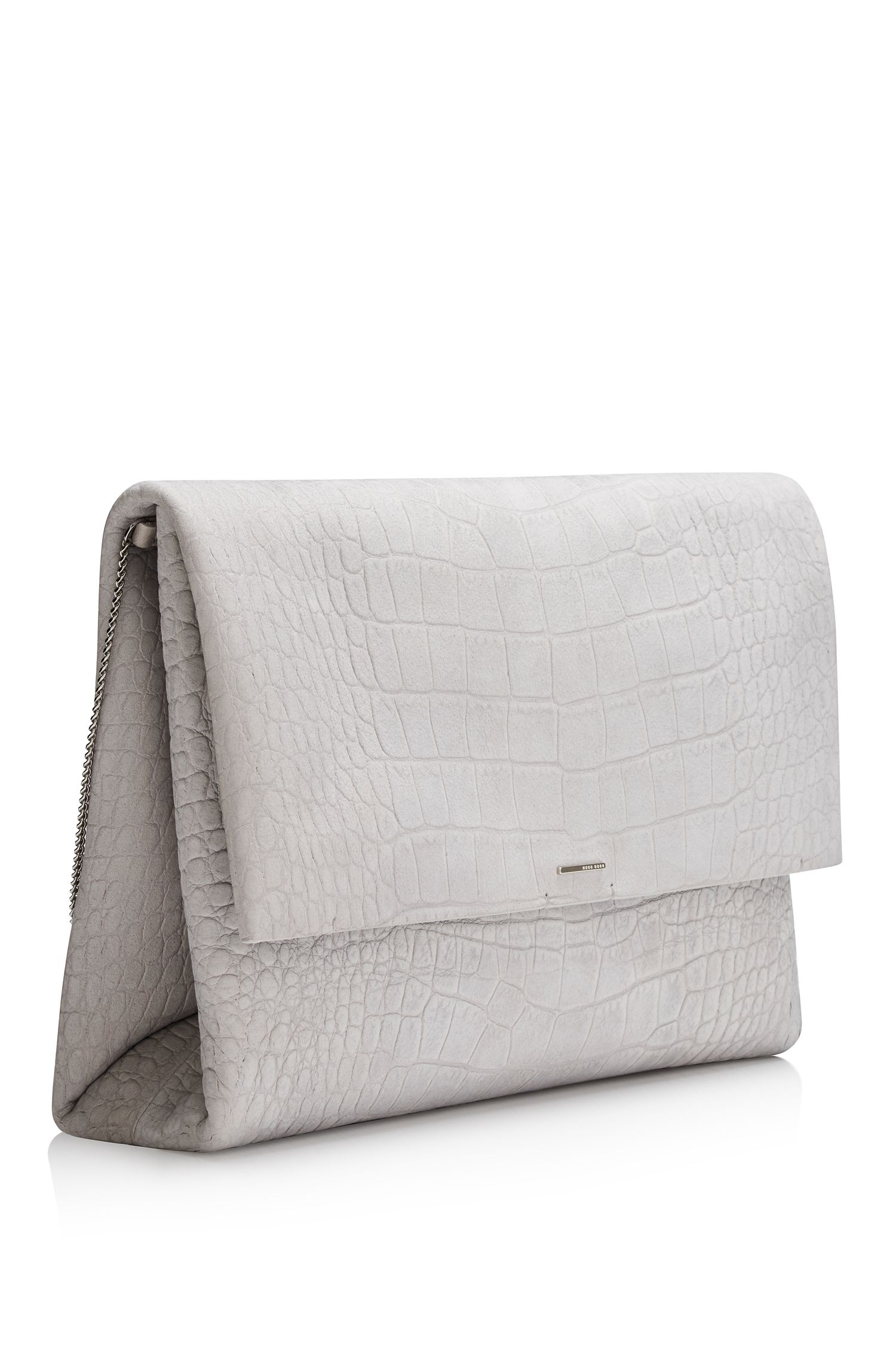 'Luxury Staple C-CN' | Calfskin Embossed Clutch with Chain Strap