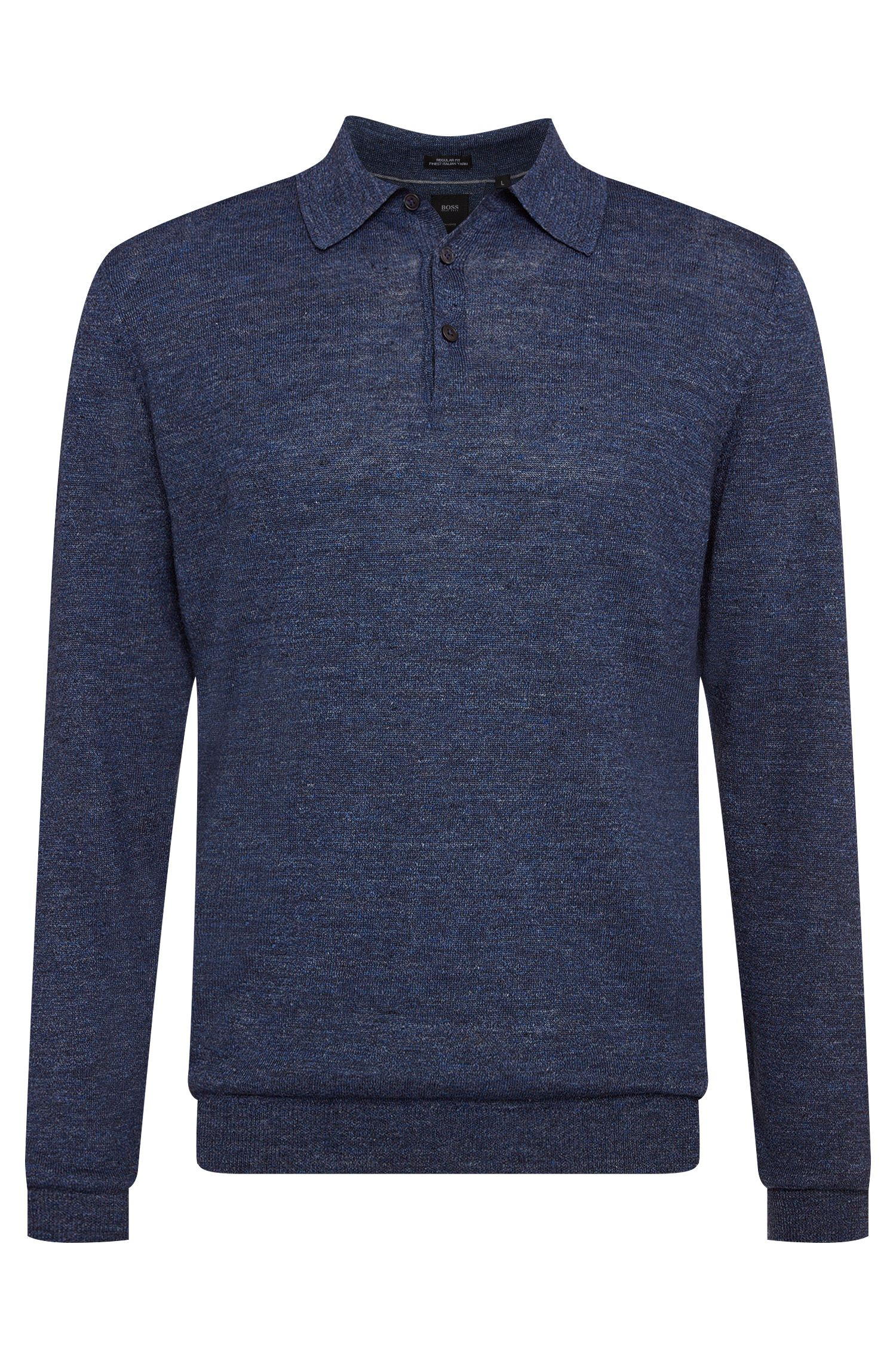 'T-Hugh' | Regular Fit, Italian Linen, Wool Polo Sweater