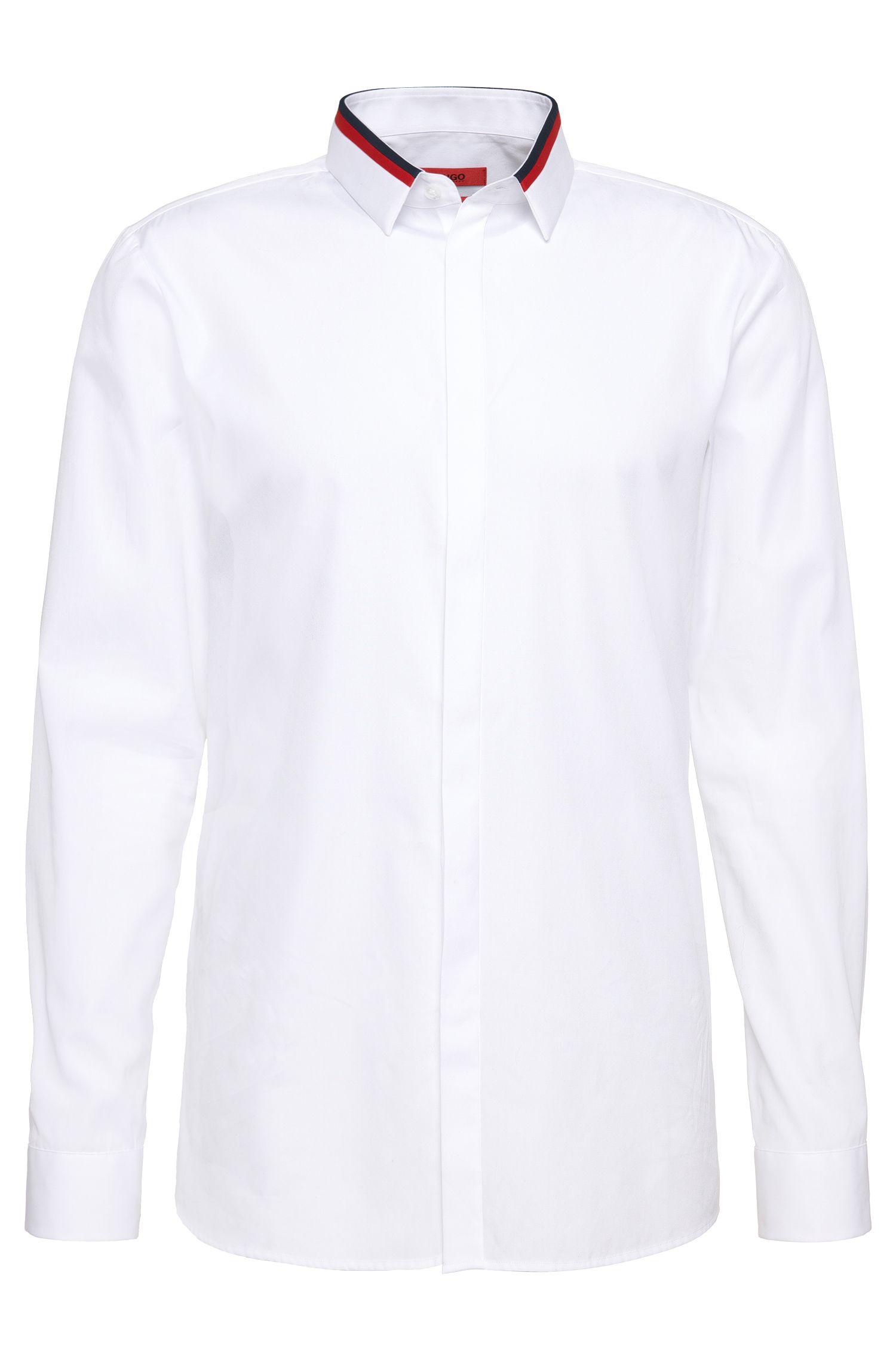 'Ewid' | Slim Fit, Cotton Contrast Button Down Shirt