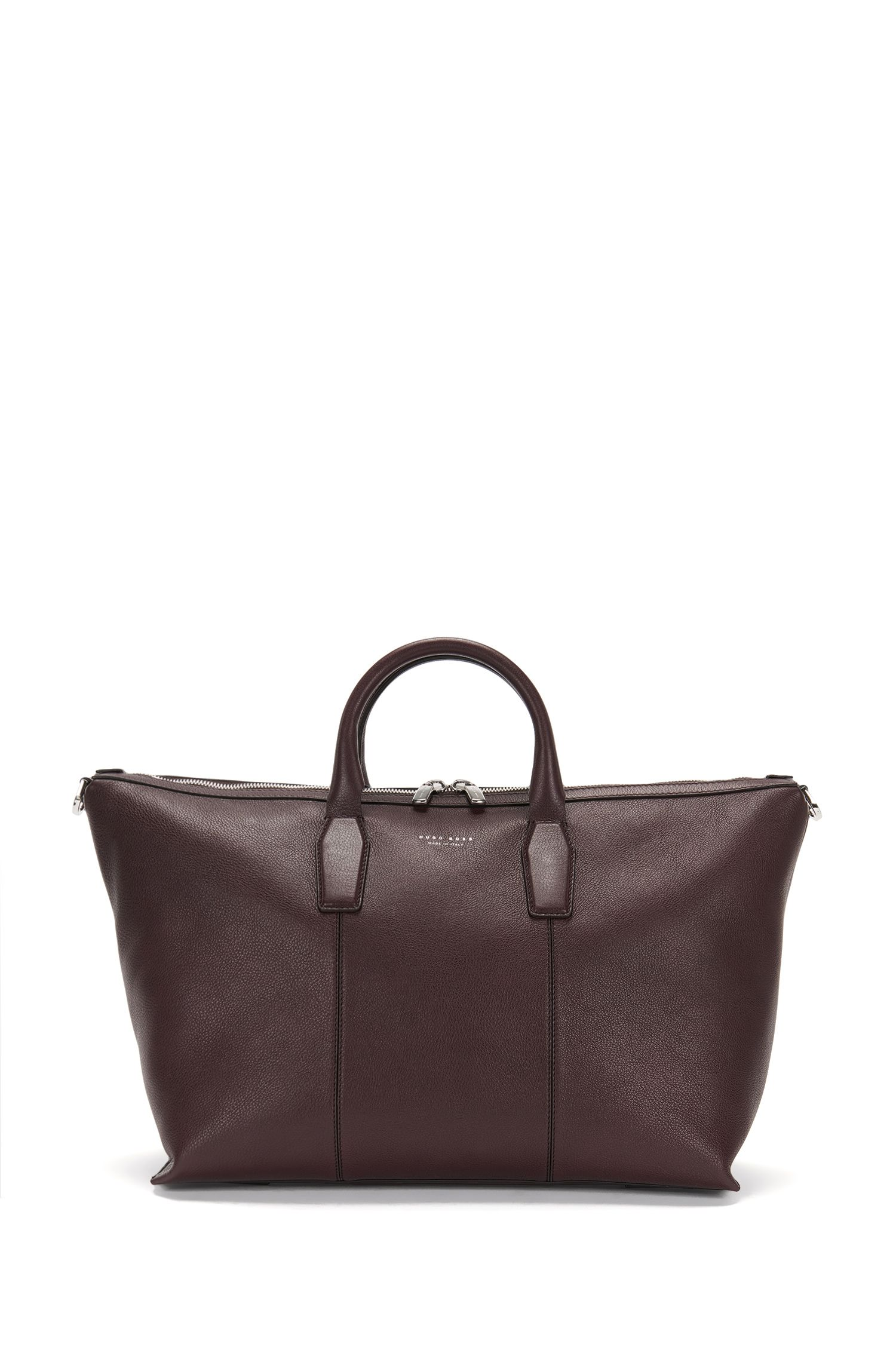 'Elite_Holdall' | Italian Leather Weekender Bag, Removable Shoulder Strap
