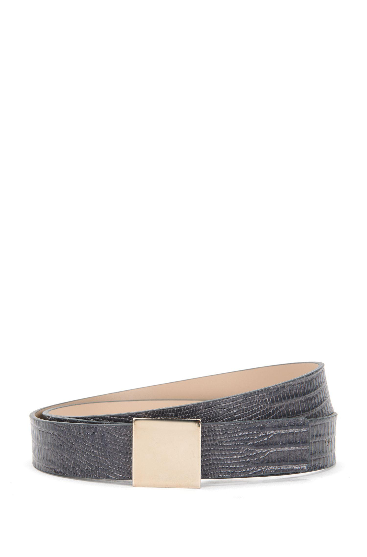 'Bell-L' | Reversible Plaque Leather Belt